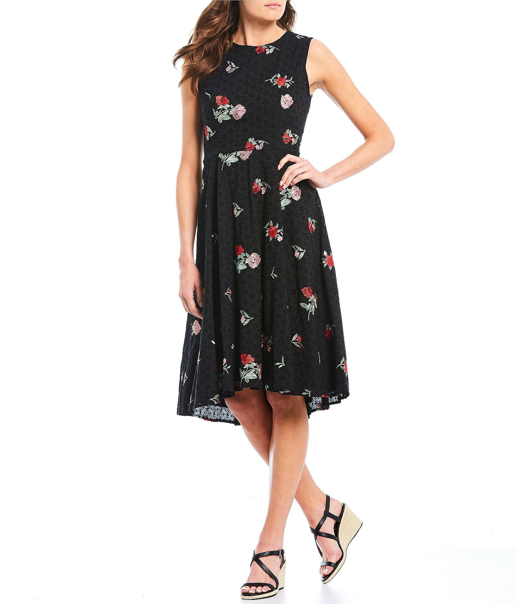 e428878a00a Lyst - Calvin Klein Floral Embroidered Eyelet Hi-low Midi Dress in Black