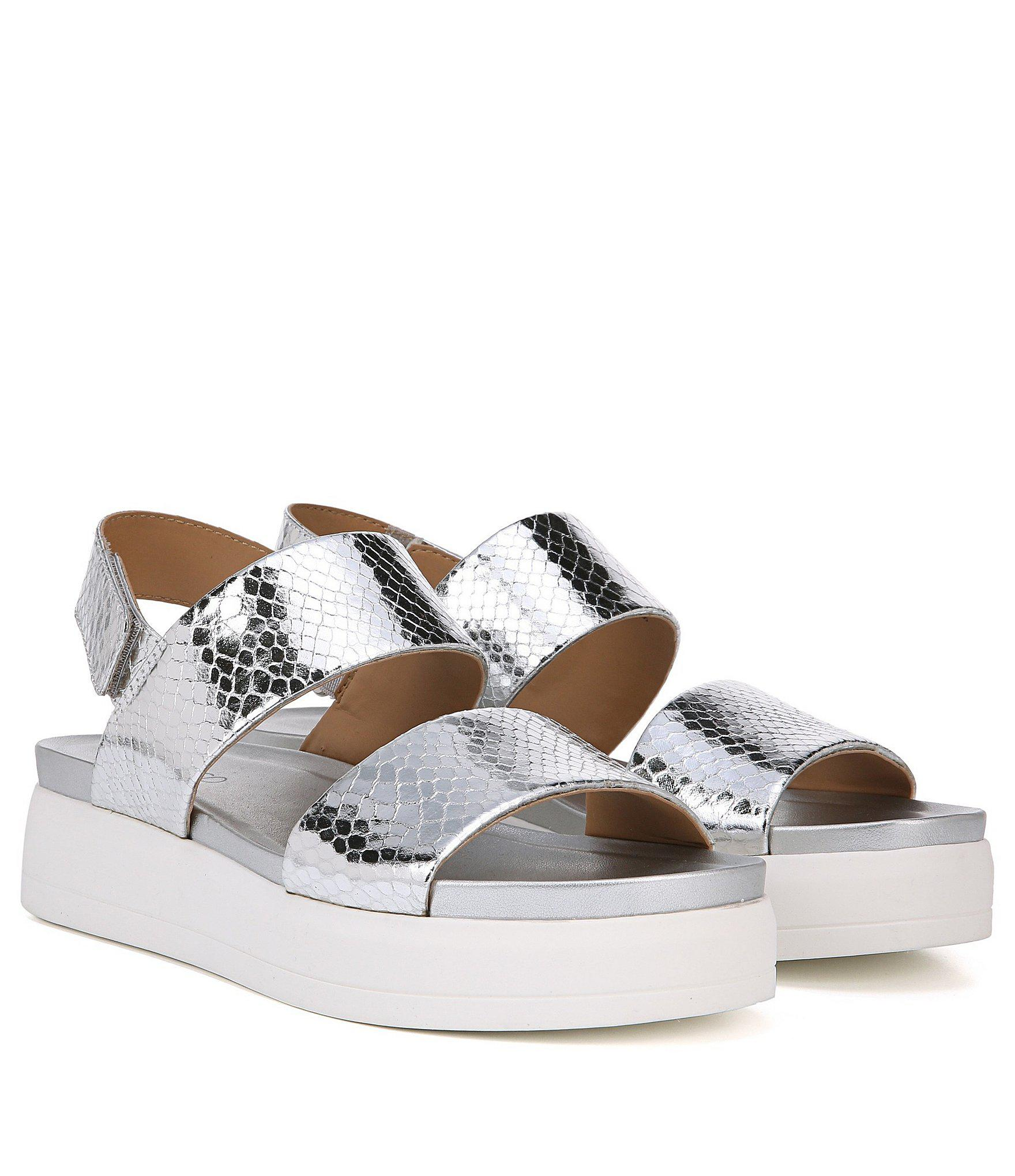 2e341f33a70 Lyst - Franco Sarto Kenan Metallic Snake Print Platform Sandals in ...