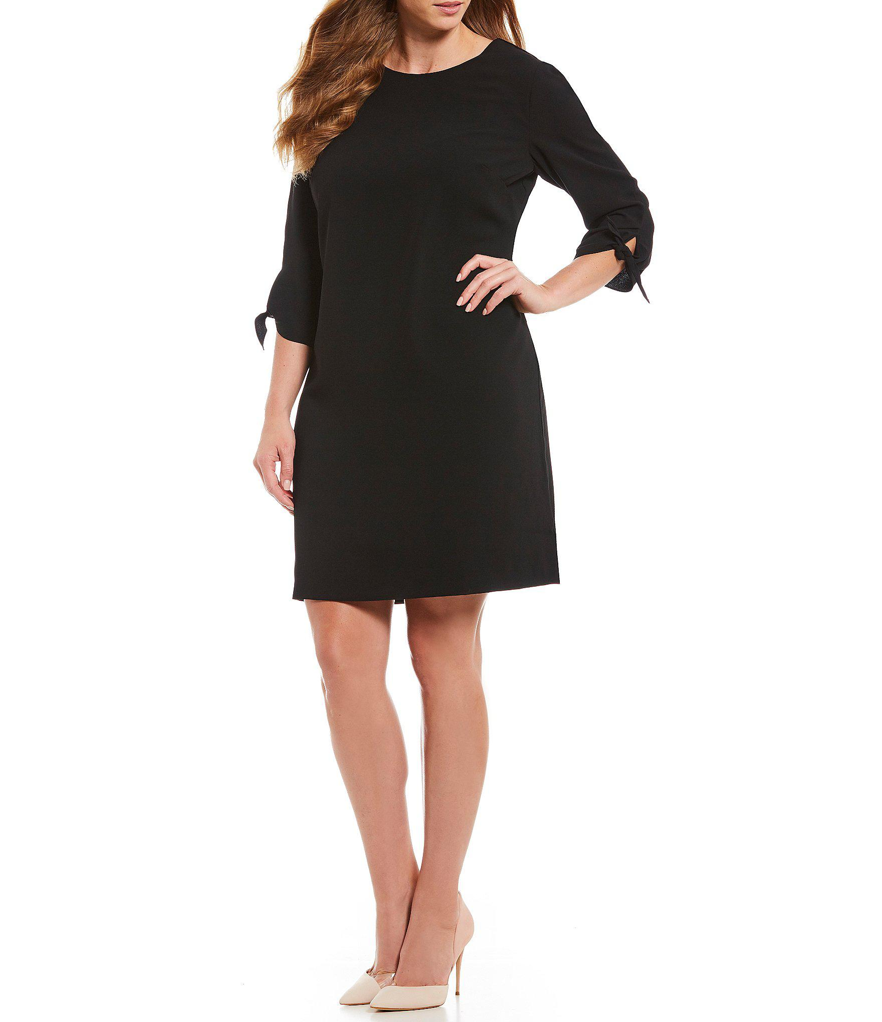 c4d8f092e54 Cece - Black Plus Size Tie Sleeve Shift Dress - Lyst. View fullscreen
