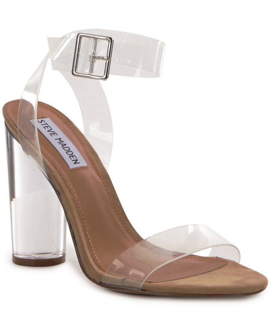 e9040c6d0c6 Lyst - Steve Madden Clearer Vinyl And Lucite Block Heel Dress Sandals