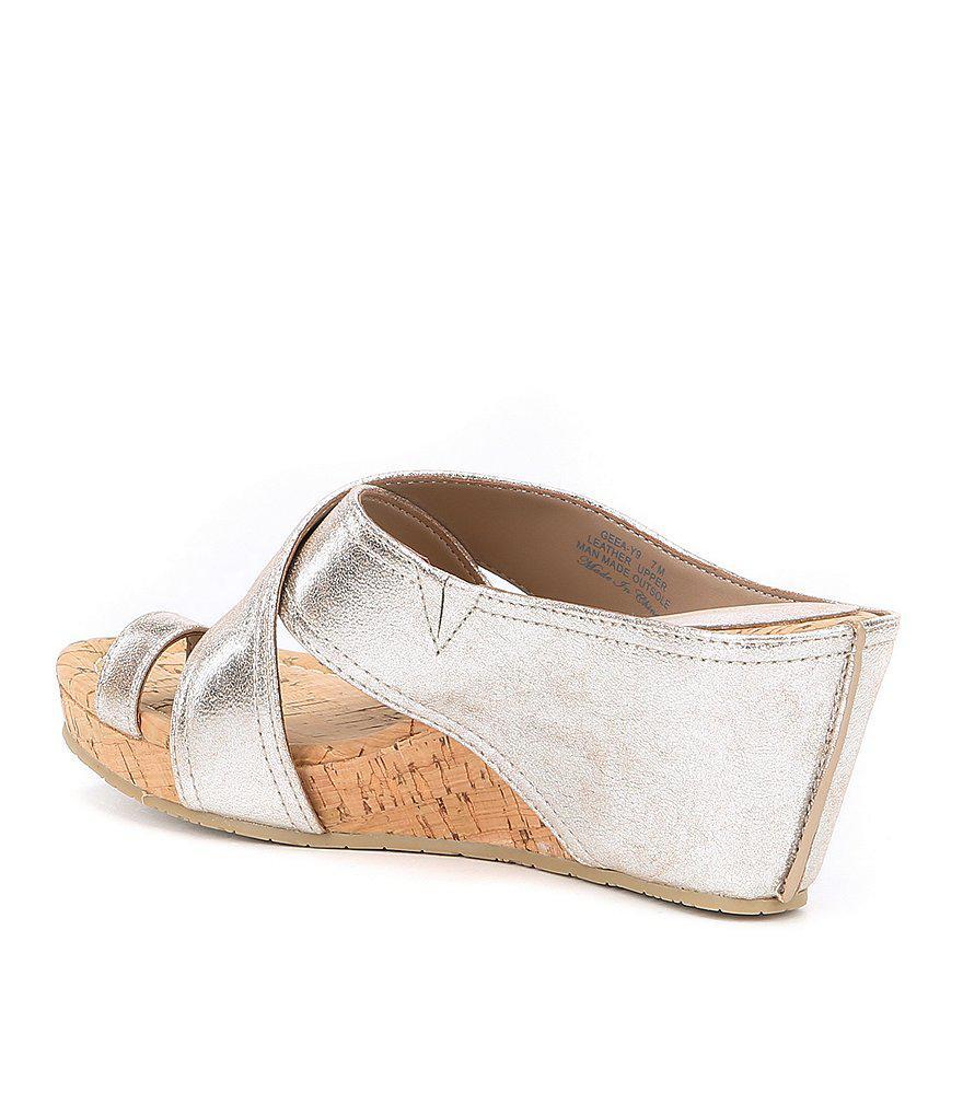 Donald Pliner Geea Leather Cork Metallic Wedge Sandals pMm1J