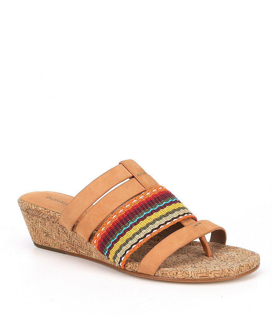 Dara Striped Nubuck Leather Thong Wedge Sandals zp7Ia4DQd