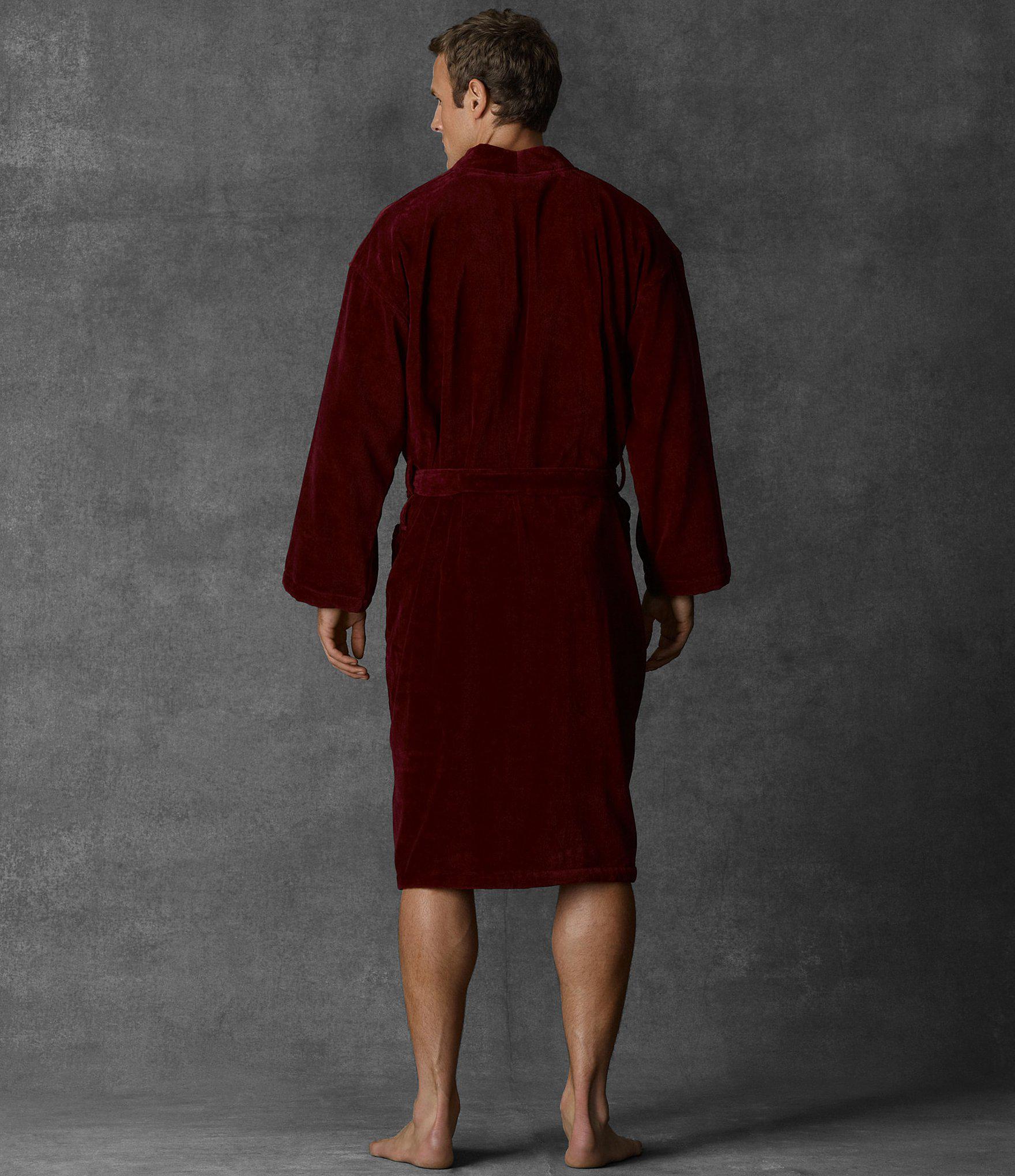 Polo Ralph Lauren Velour Kimono Robe in Red for Men