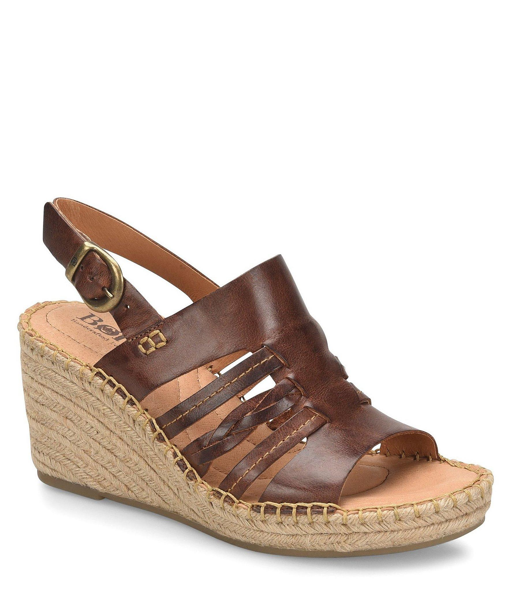 47f3632c2f18 Lyst - Born Payson Leather Espadrille Wrapped Wedge Sandals in Brown