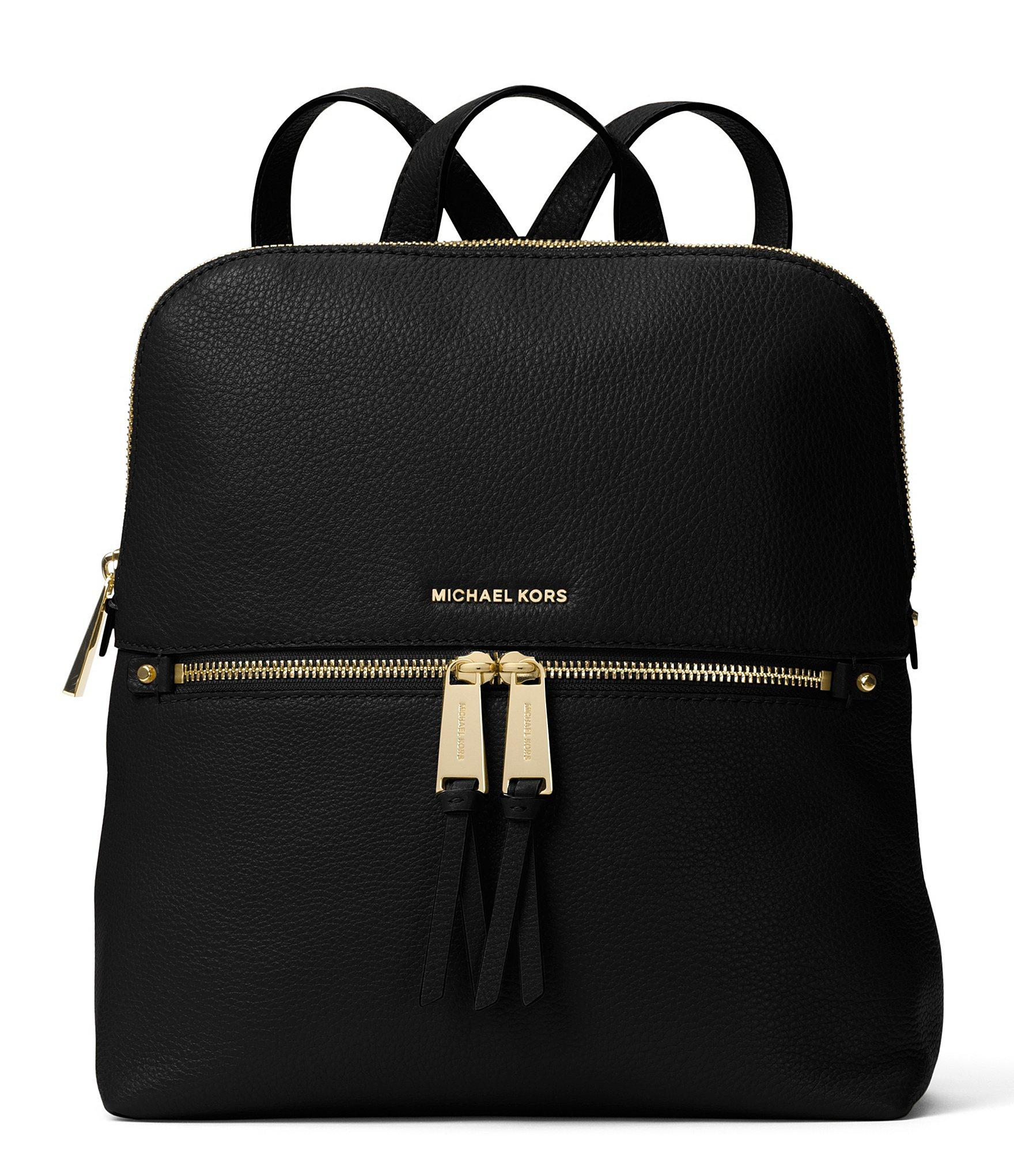 fa2b66f6e9b7 MICHAEL Michael Kors Gold-tone Rhea Slim Zip Backpack in Black - Lyst