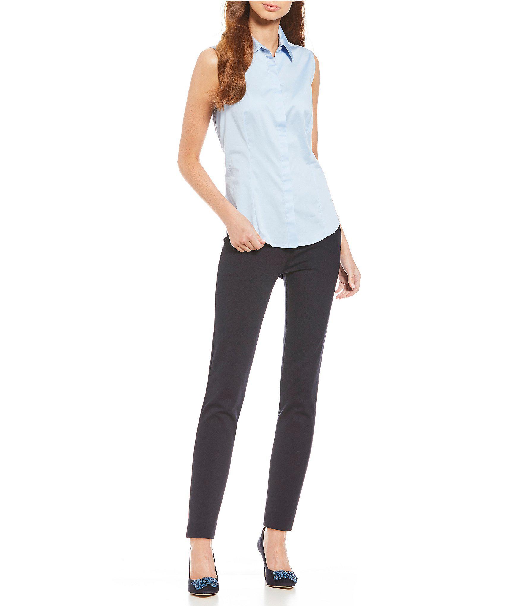 b025b7847a0 Lyst - Antonio Melani Ellie Button Front Sleeveless Blouse in Blue