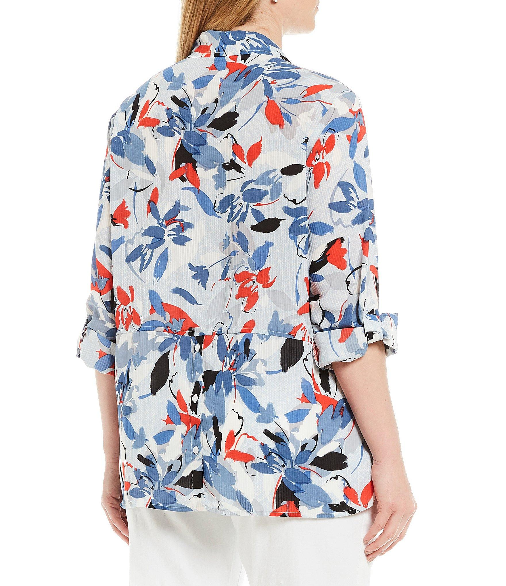 49b1e7440d Jones New York - Blue Plus Size Popover Button Back Shirt - Lyst. View  fullscreen