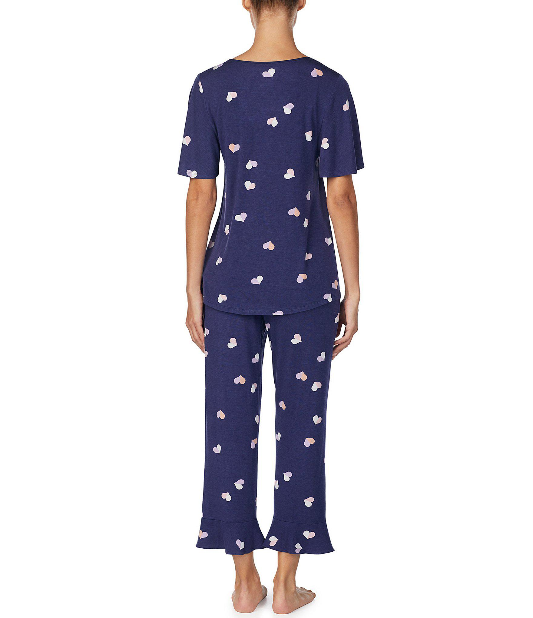 b6c9b76aec9 Kate Spade - Blue Heart-print Jersey Cropped Pajama Set - Lyst. View  fullscreen