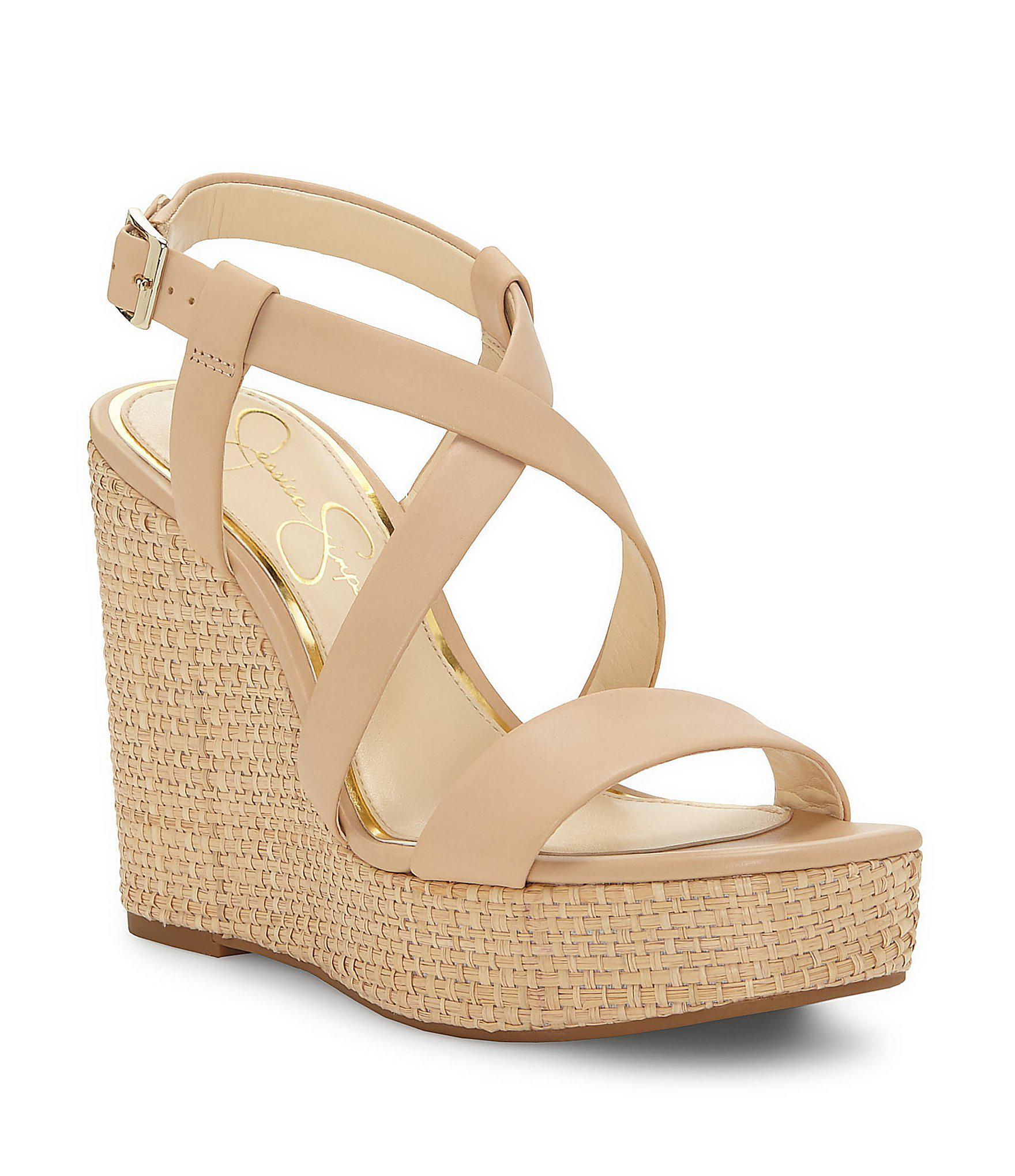 16be38c6fd3 Lyst - Jessica Simpson Salona Wedge Sandals in Natural