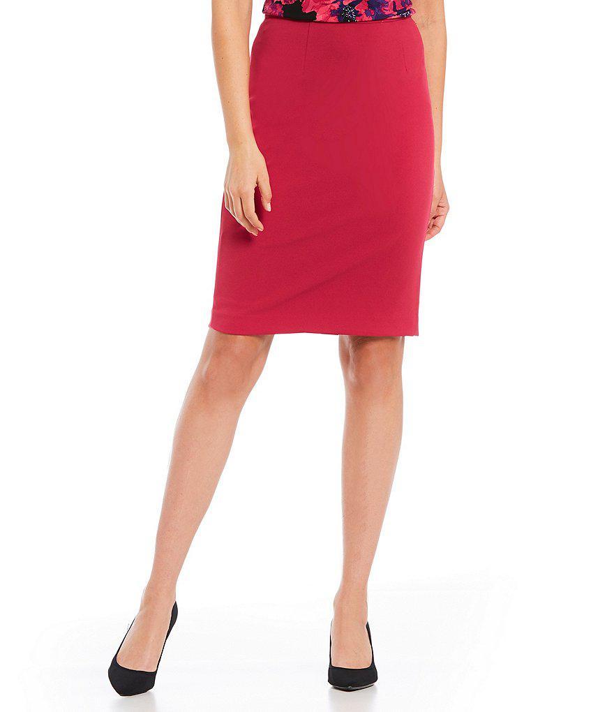 4f85faadfb49 Calvin Klein Petites Scuba Crepe Pencil Skirt in Red - Lyst