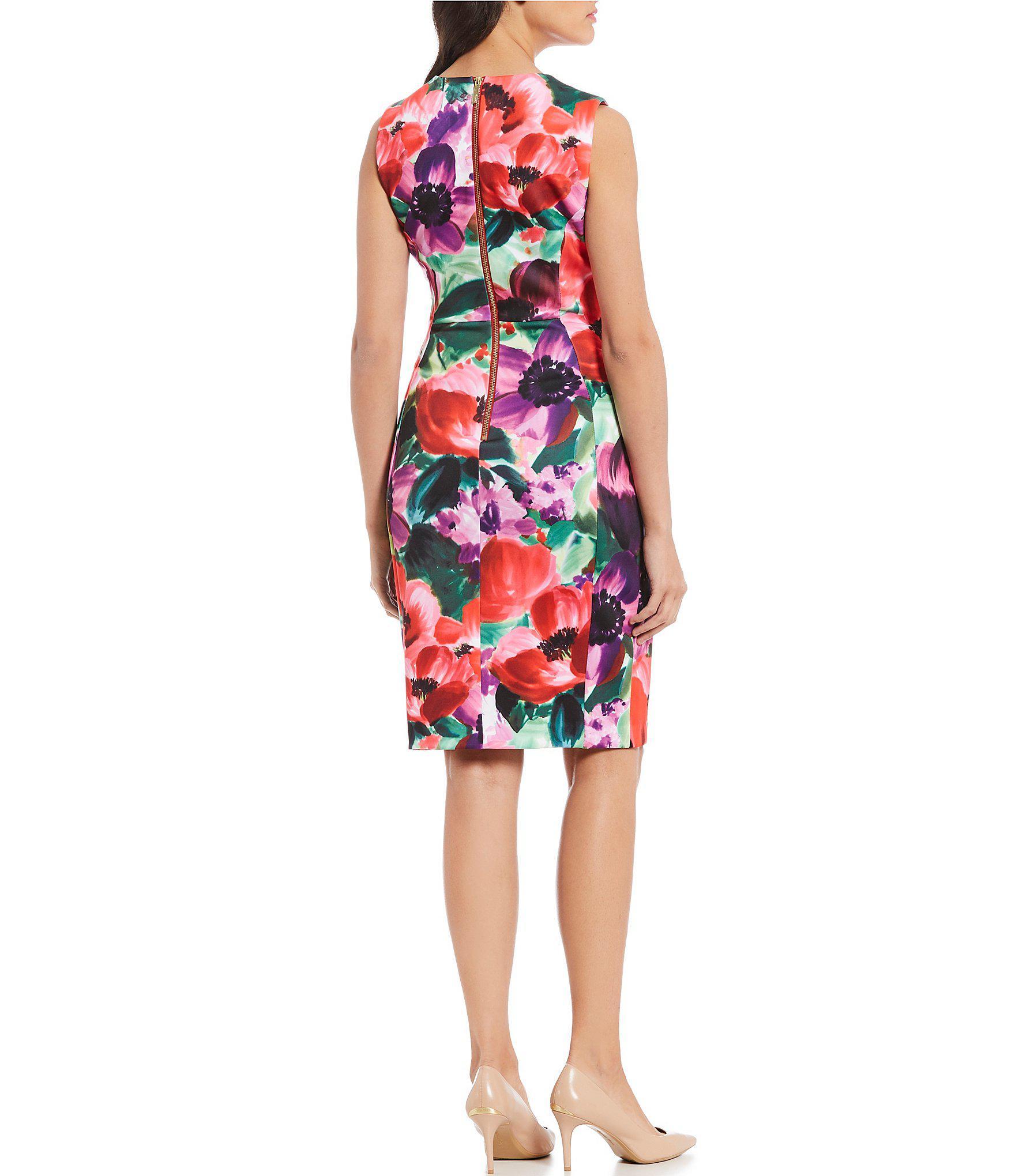 4c201d49 Calvin Klein - Red Floral Print Scuba Sleeveless Sheath Dress - Lyst. View  fullscreen