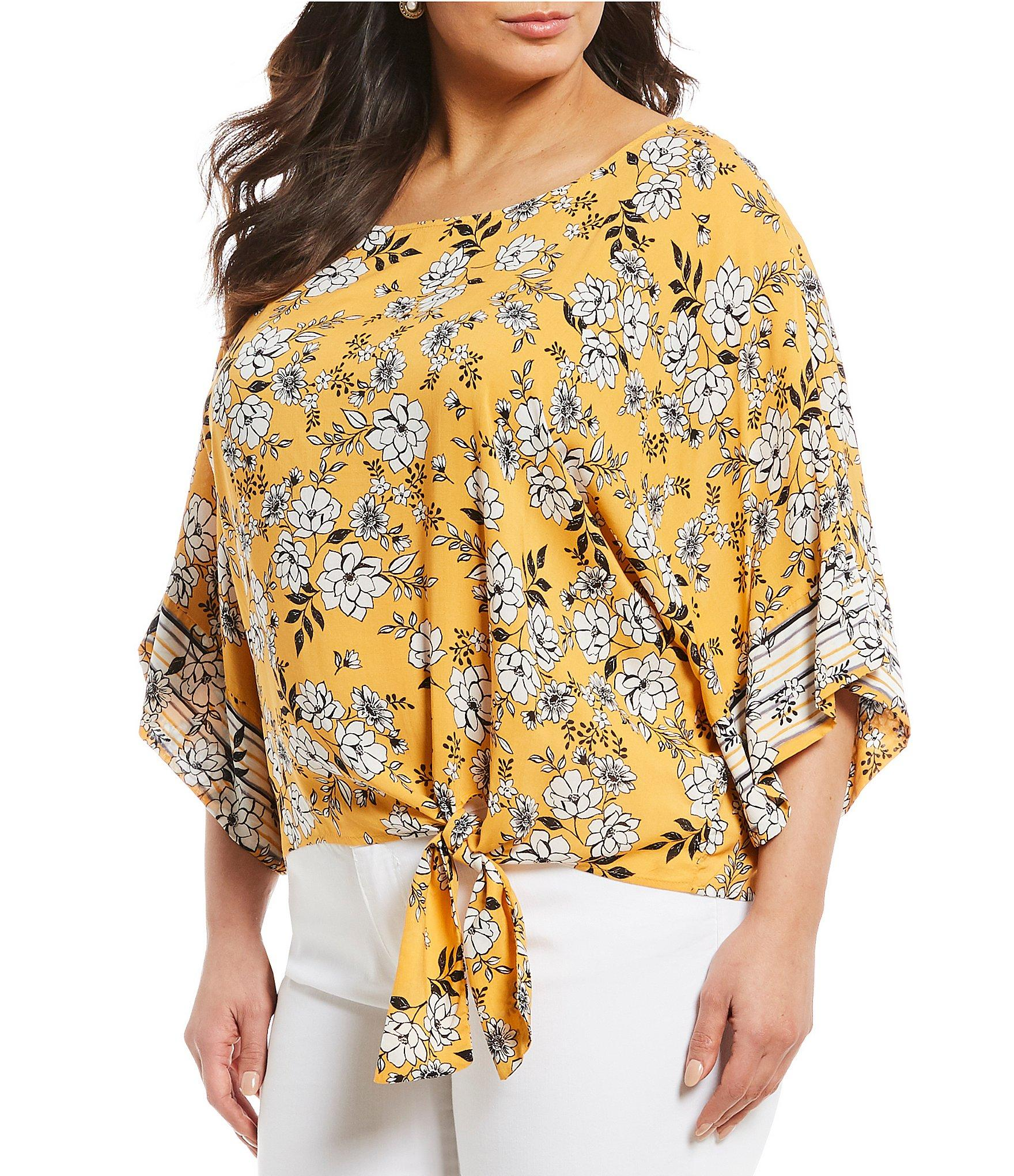 ad6c853c108 Lyst - Democracy Plus Size Floral Print 3 4 Sleeve Side Tie Knot Top