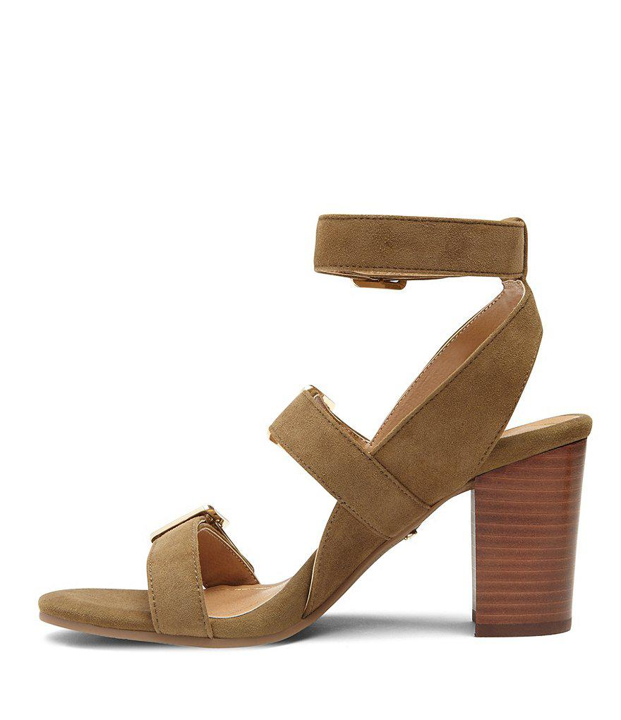 Carmel Banded Leather Block Heel Sandals aouoVp