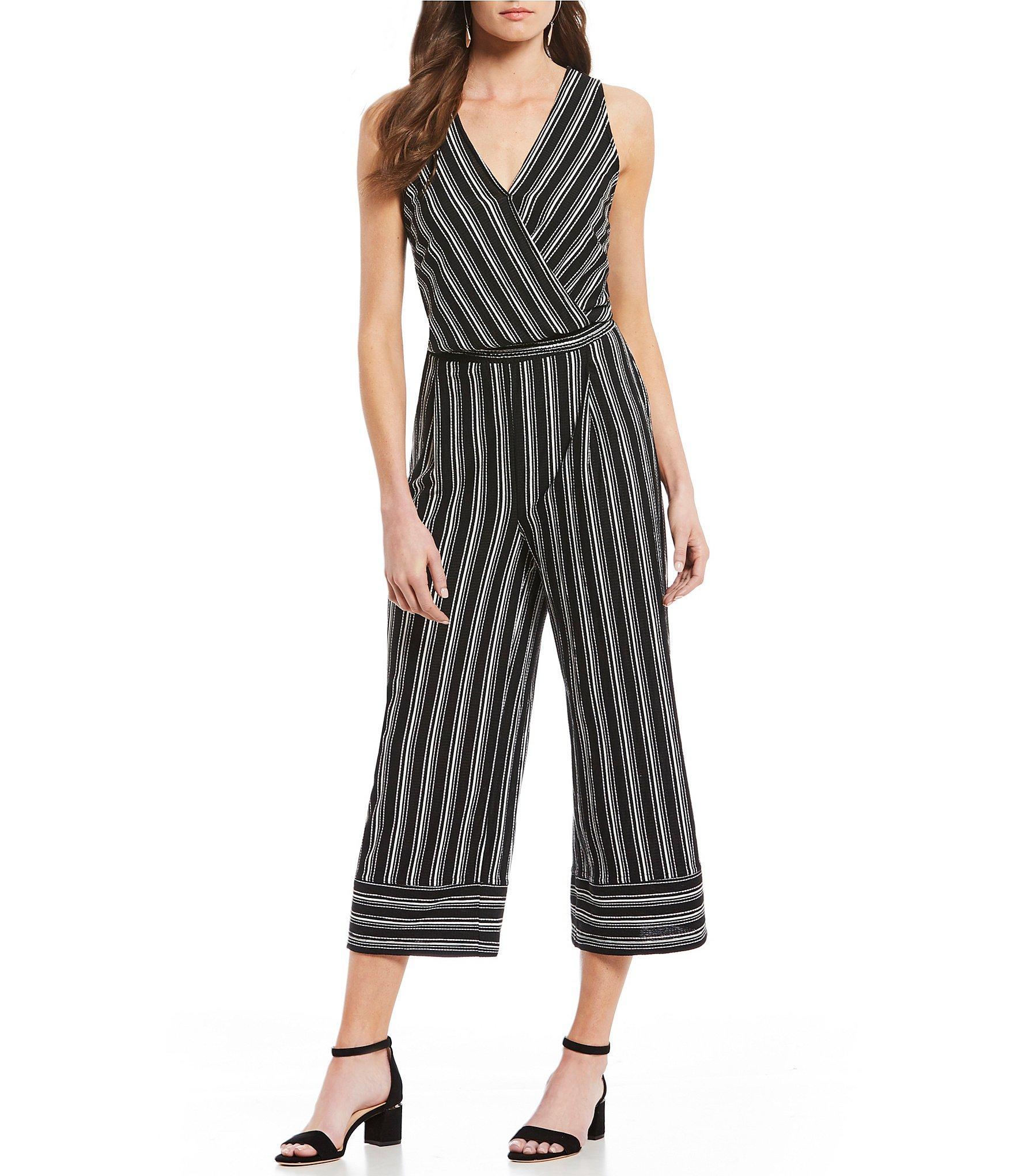 d75e55fdb542 Democracy. Women s Black Striped Surplice V-neck Sleeveless Cropped Jumpsuit