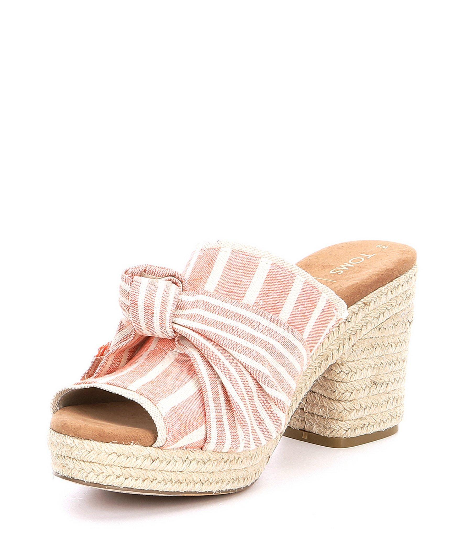 b8bfaba609fa Lyst - TOMS Junie Striped Canvas Block Heel Mules in Pink