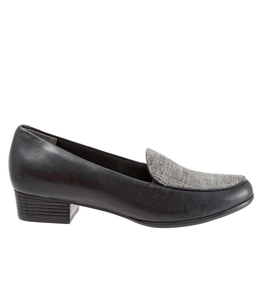 Monarch Leather and Linen Block Heel Loafers MFy1tOCBL