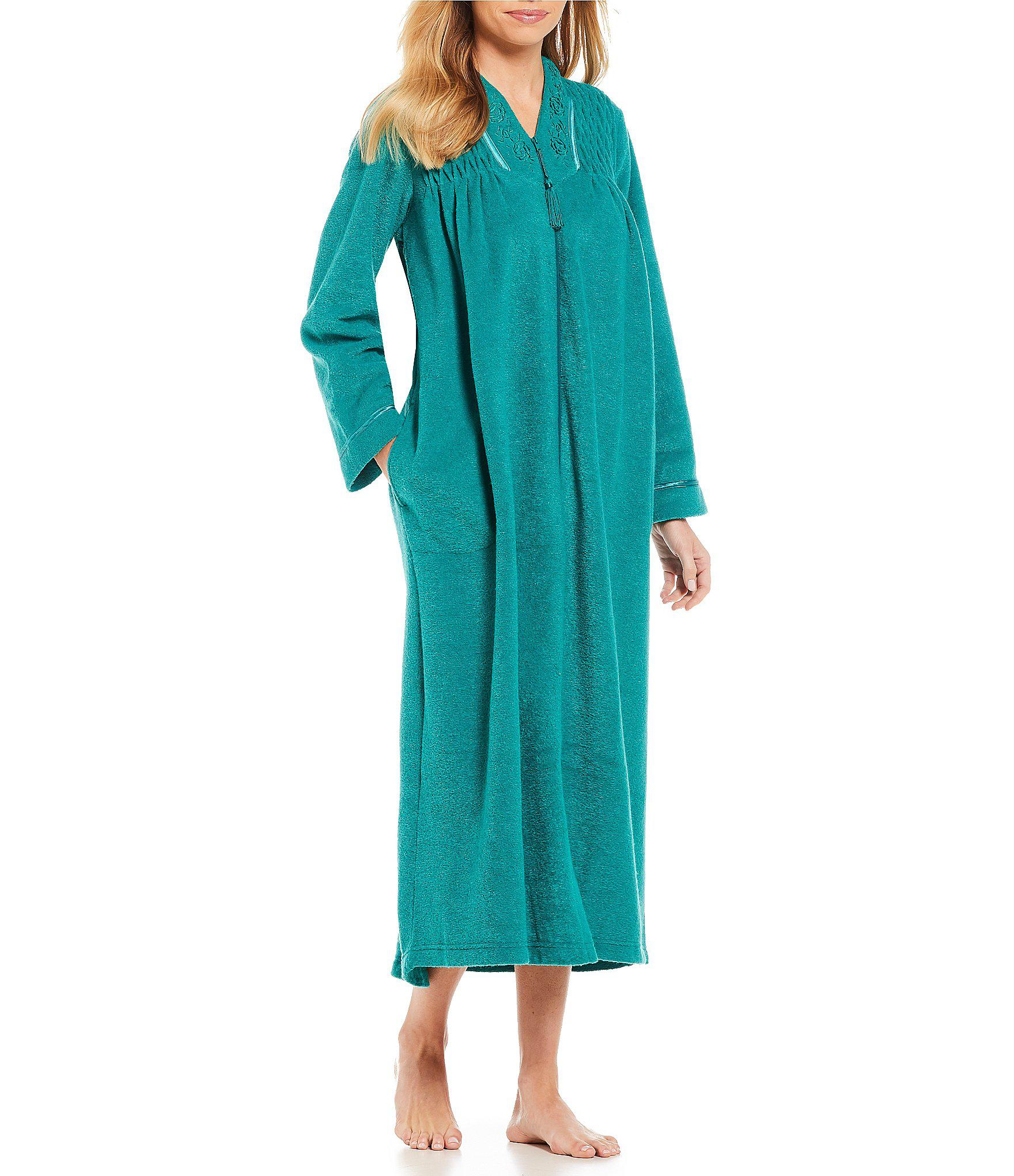 3a5bb148e3 Lyst - Miss Elaine Petite Brushed Back Terry Zip-front Long Robe in Blue