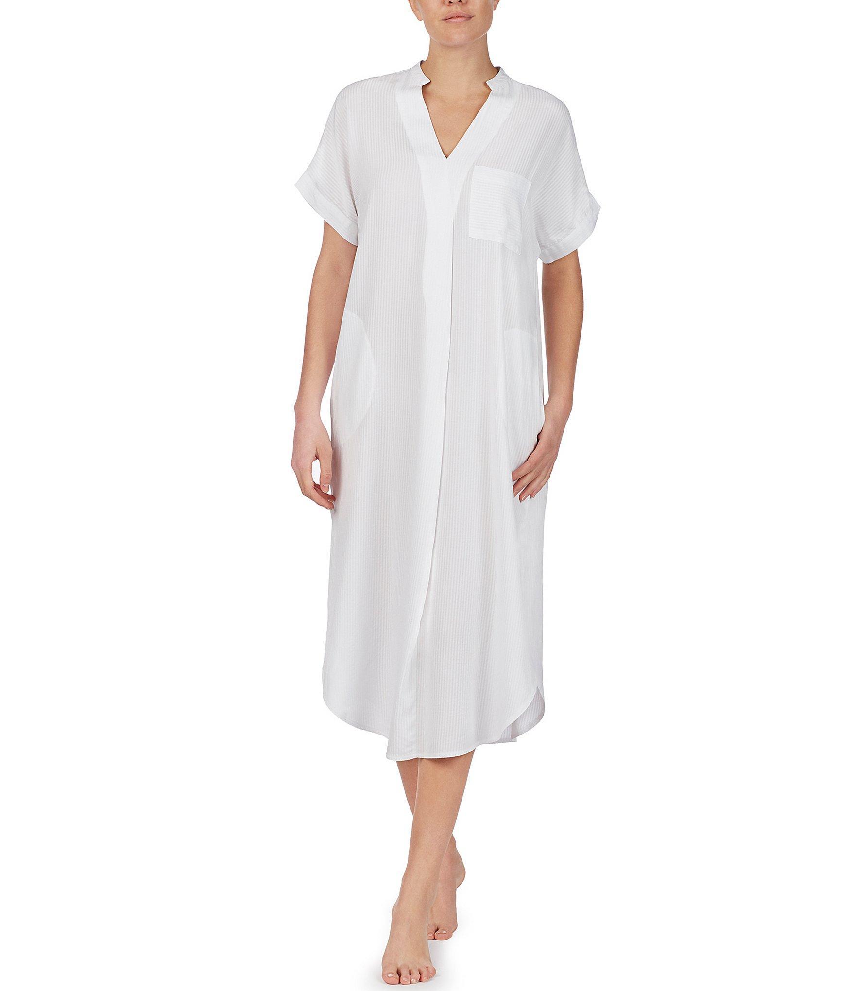 7fd96b676cea98 Lyst - Donna Karan Striped Print Maxi Sleep Shirt in White