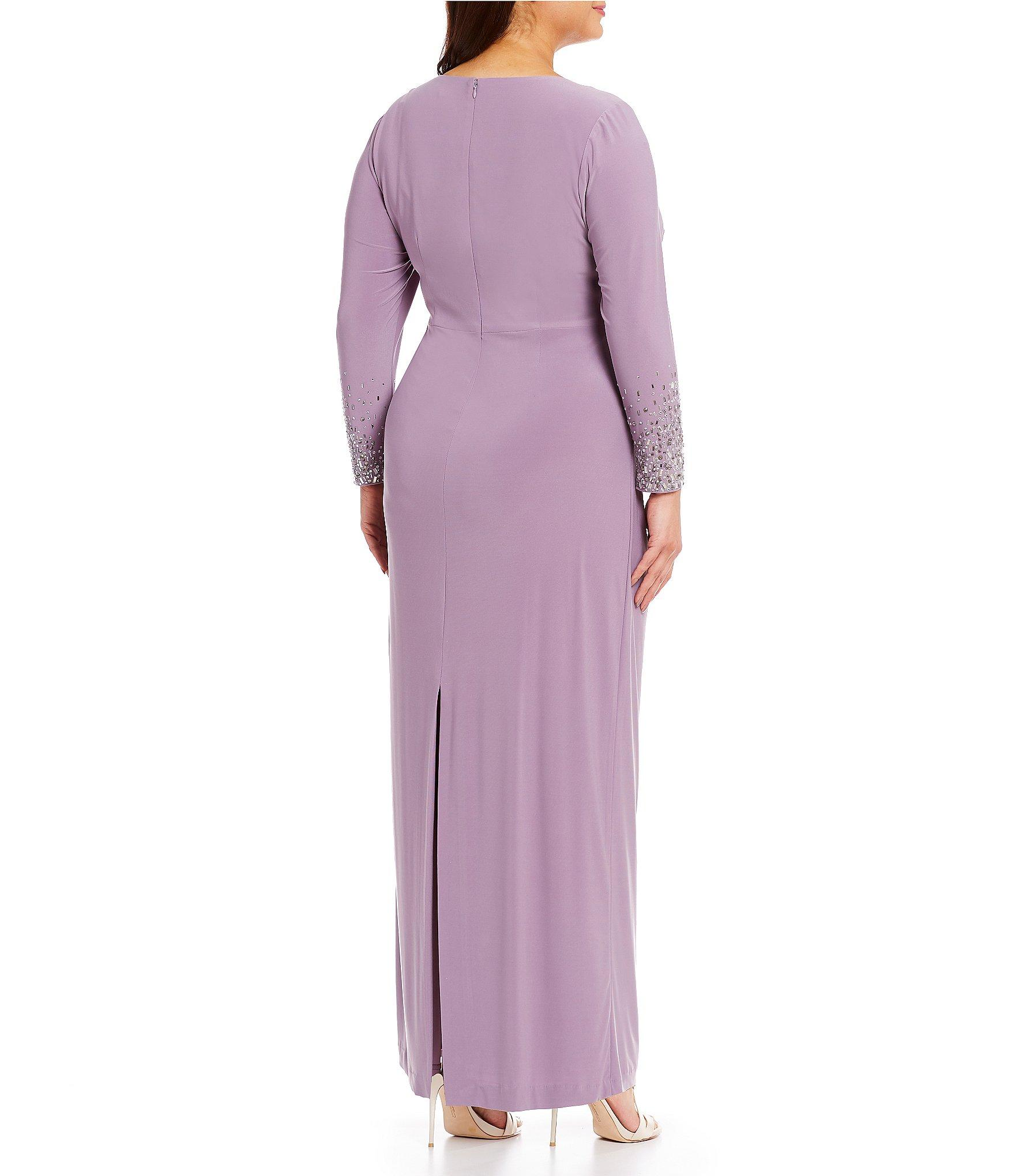 02e9b5a32b7 Vince Camuto - Purple Plus Size Jersey Beaded Long Sleeve Ruched Gown -  Lyst. View fullscreen