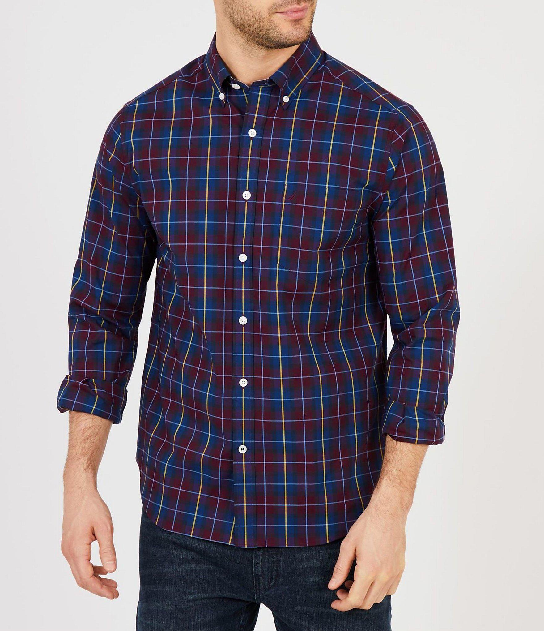 5ead167b4186ee Nautica. Men's Blue Big & Tall Plaid Wrinkle-resistant Long-sleeve Woven  Shirt