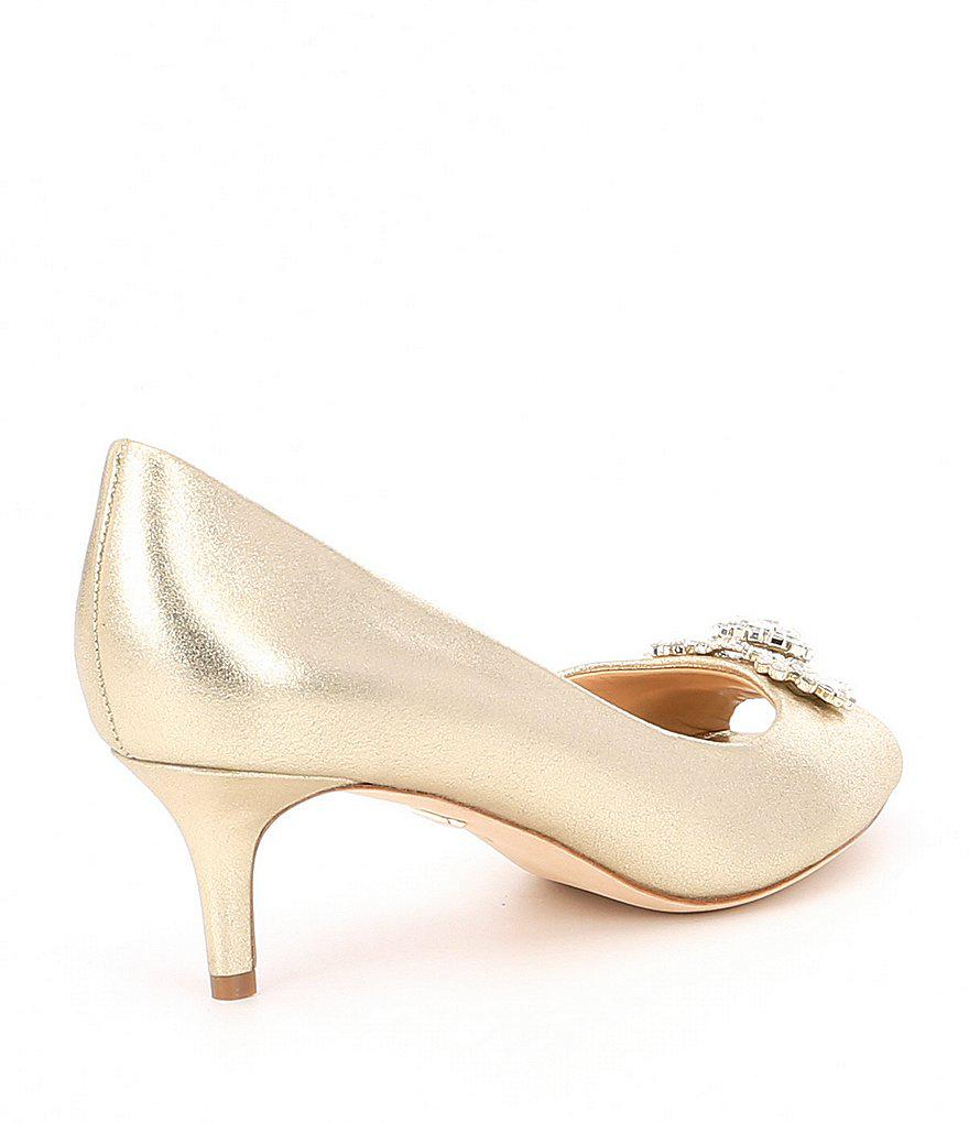 Badgley Mischka Macie Metallic Suede Jeweled Detail Pumps HtV6sJGM