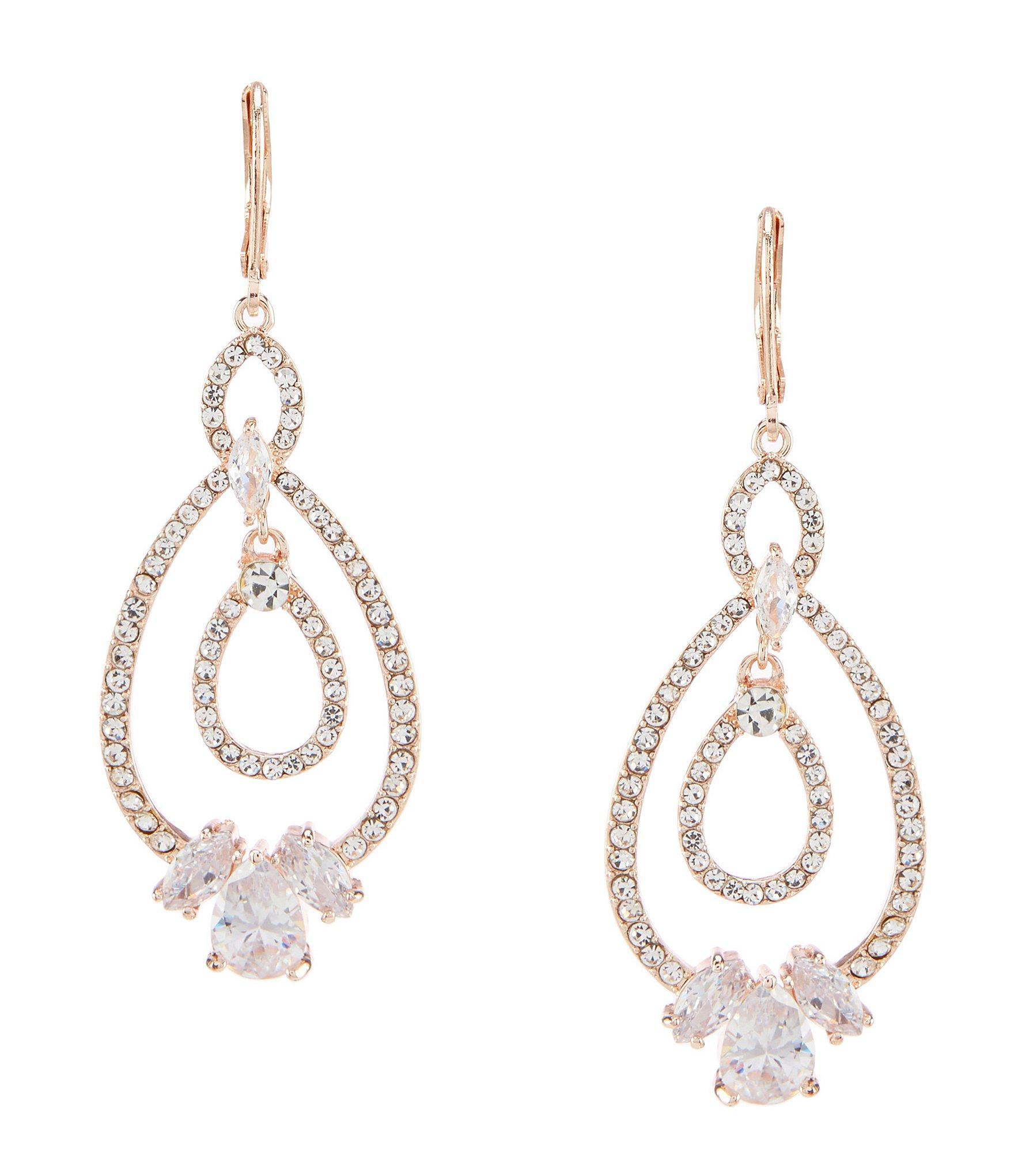d2ea6e61bef47 Anne Klein Crystal Drop Earrings in Metallic - Lyst