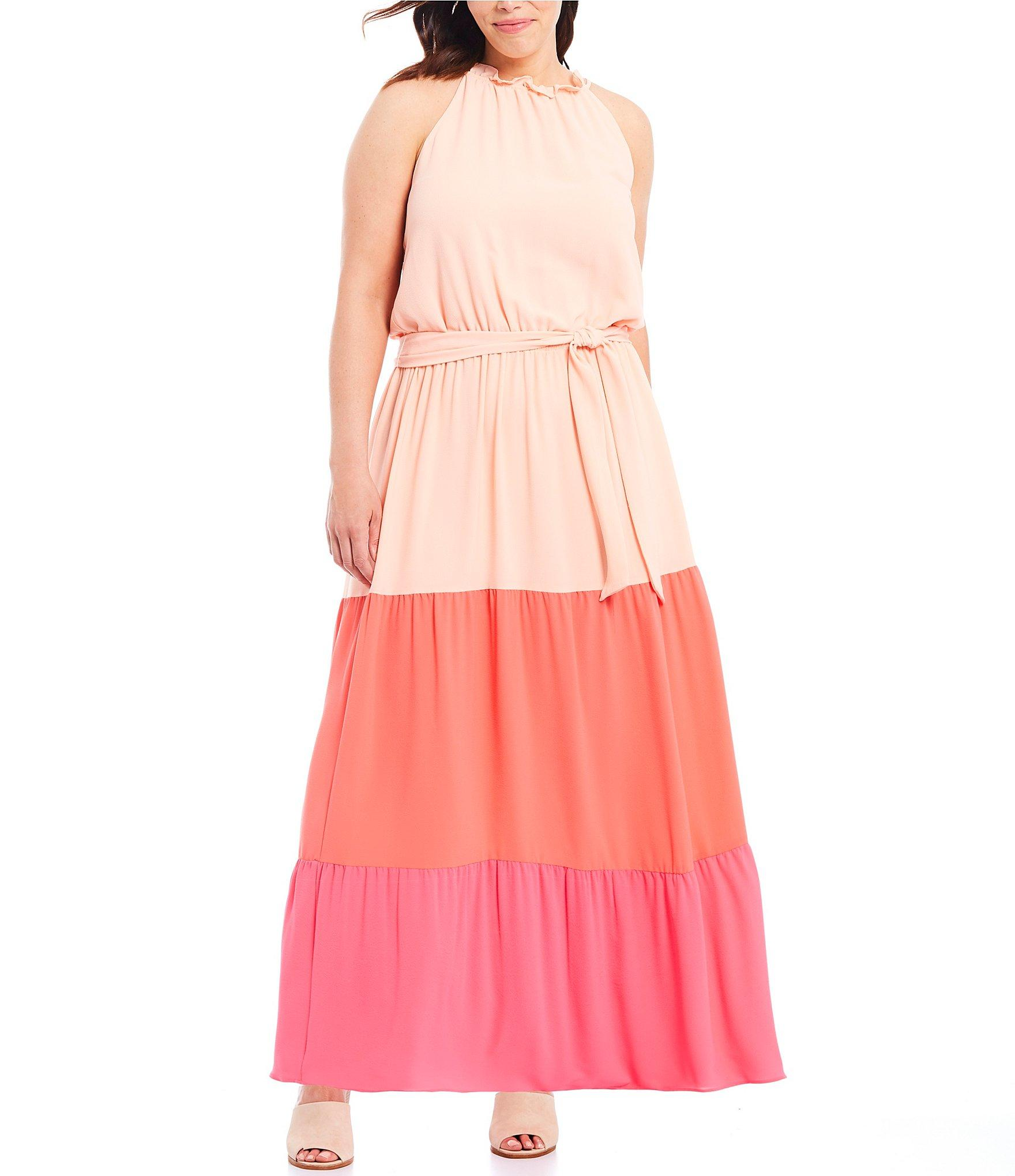 Lyst - Cece Plus Size Colorblock Ruffle Trim Belted Maxi Dress in Pink