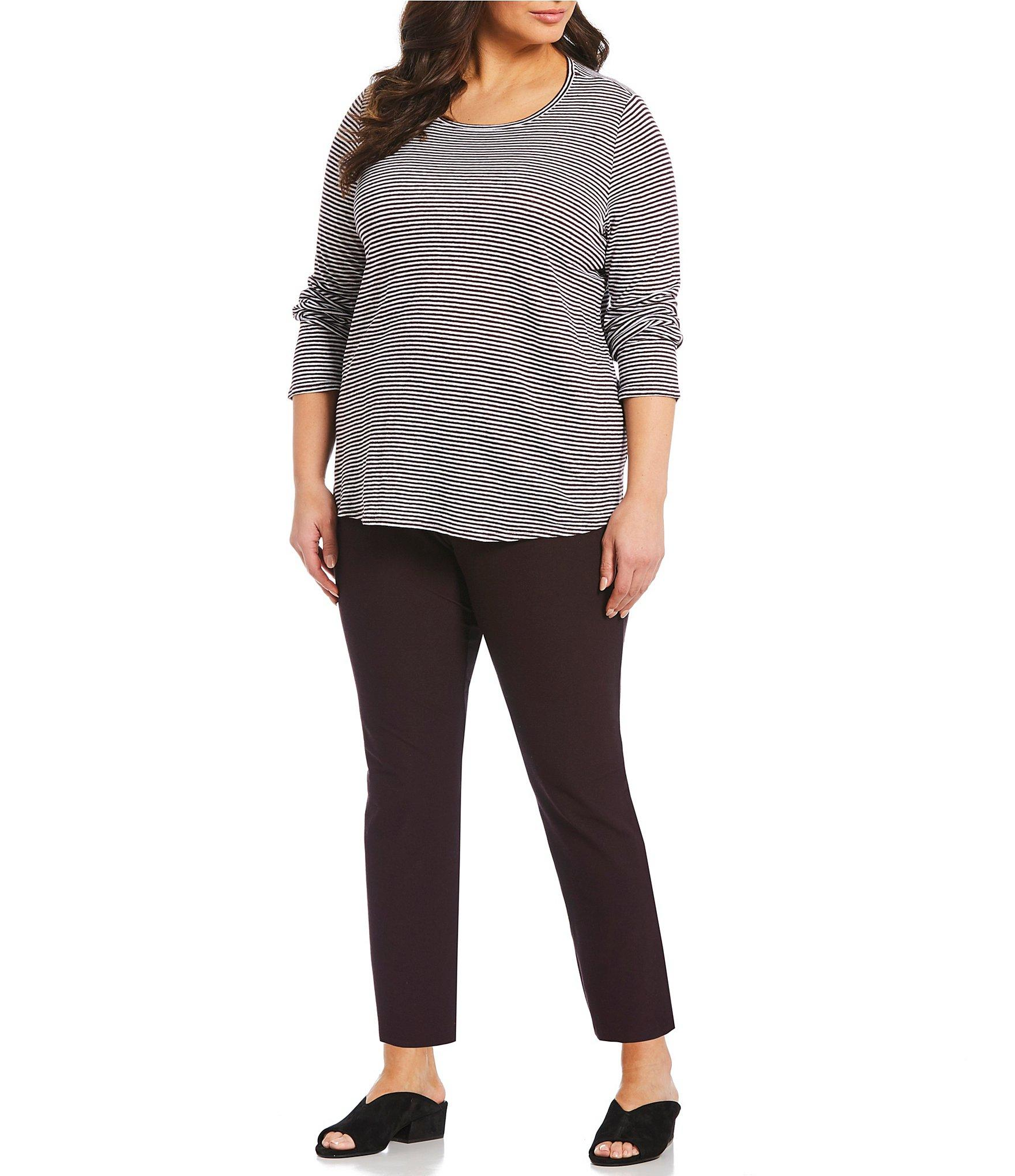 00b7c2b4a Eileen Fisher - Gray Plus Size Striped Long Sleeve Tee - Lyst. View  fullscreen