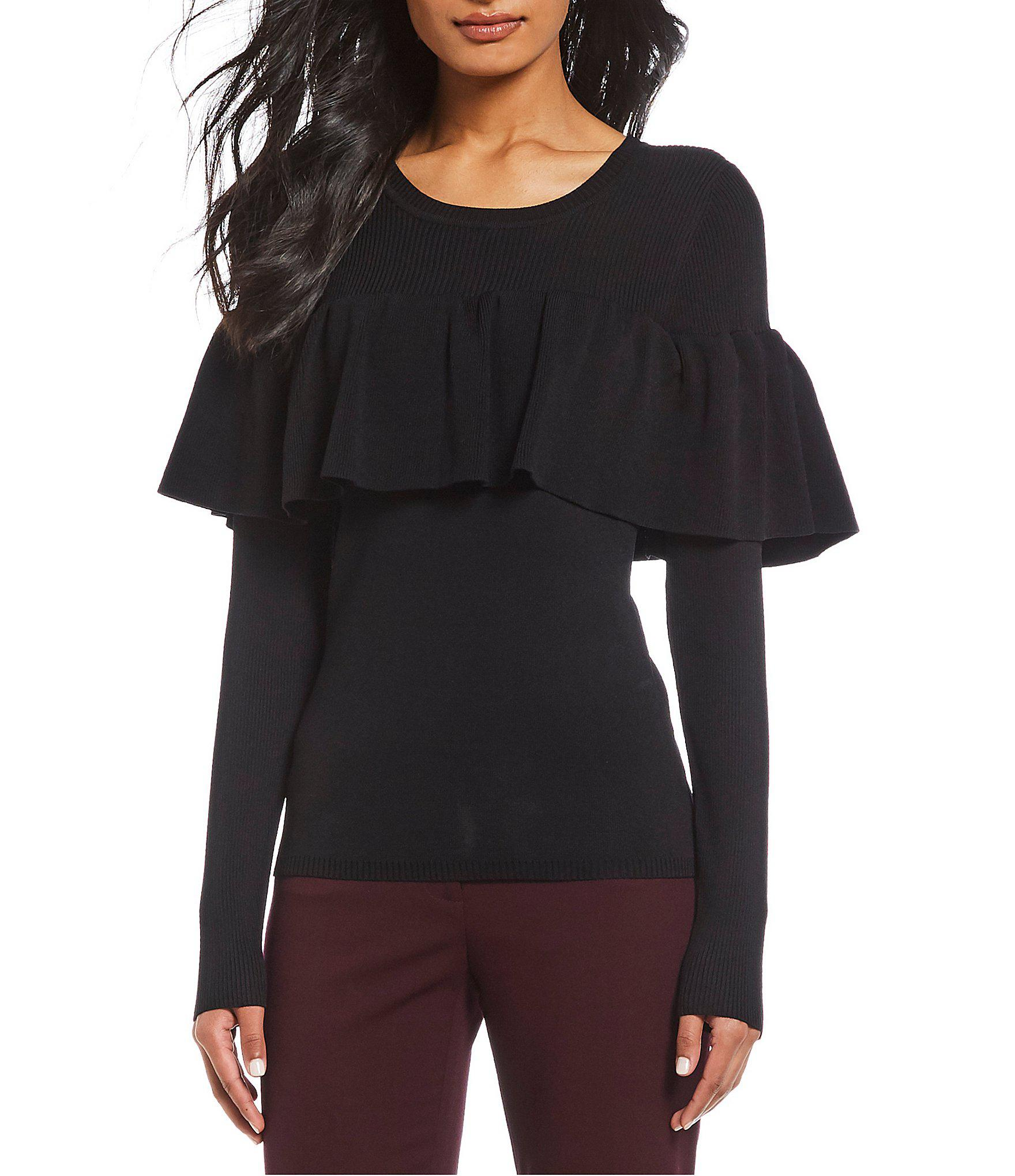 9601f97223f Lyst - Antonio Melani Emmy Ruffle Popover Knit Top in Black