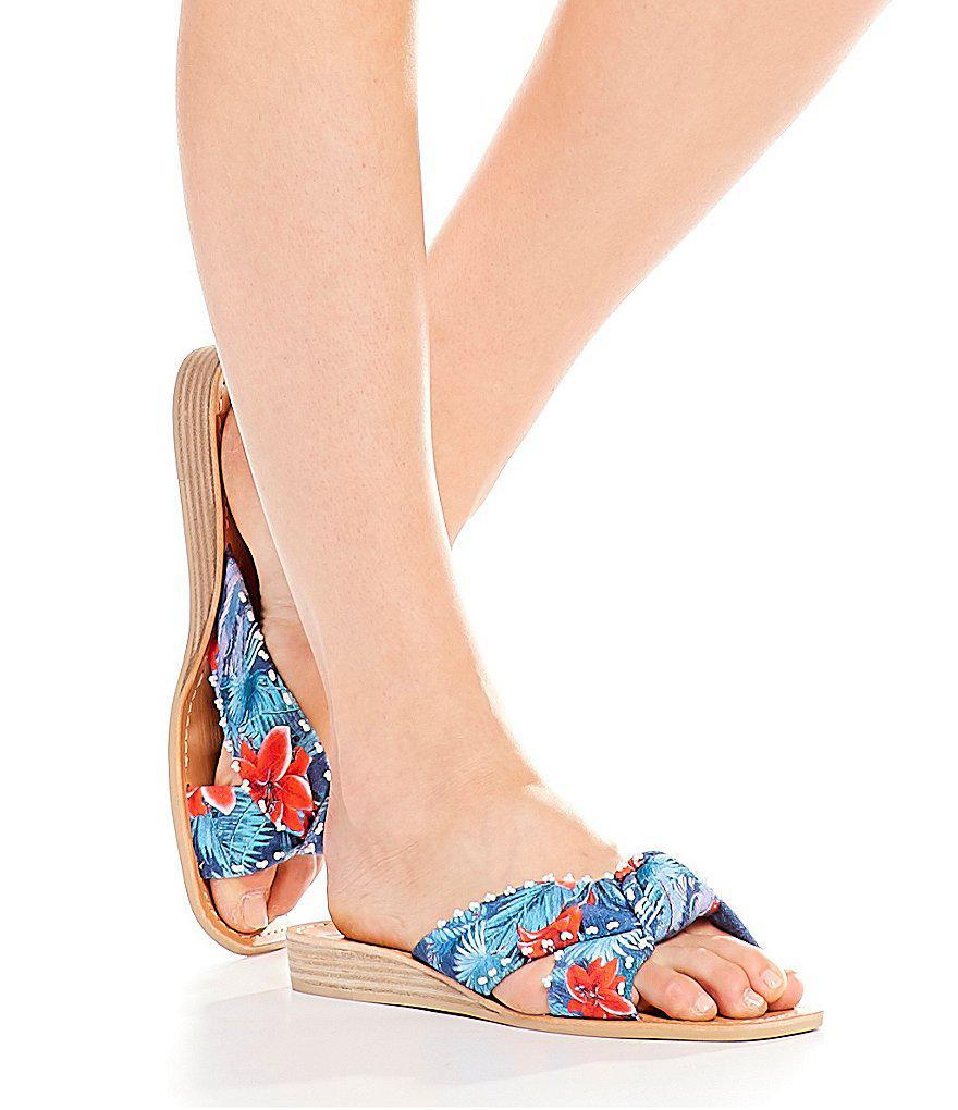 Haviva Floral Knot Slide Sandals nr5k1D
