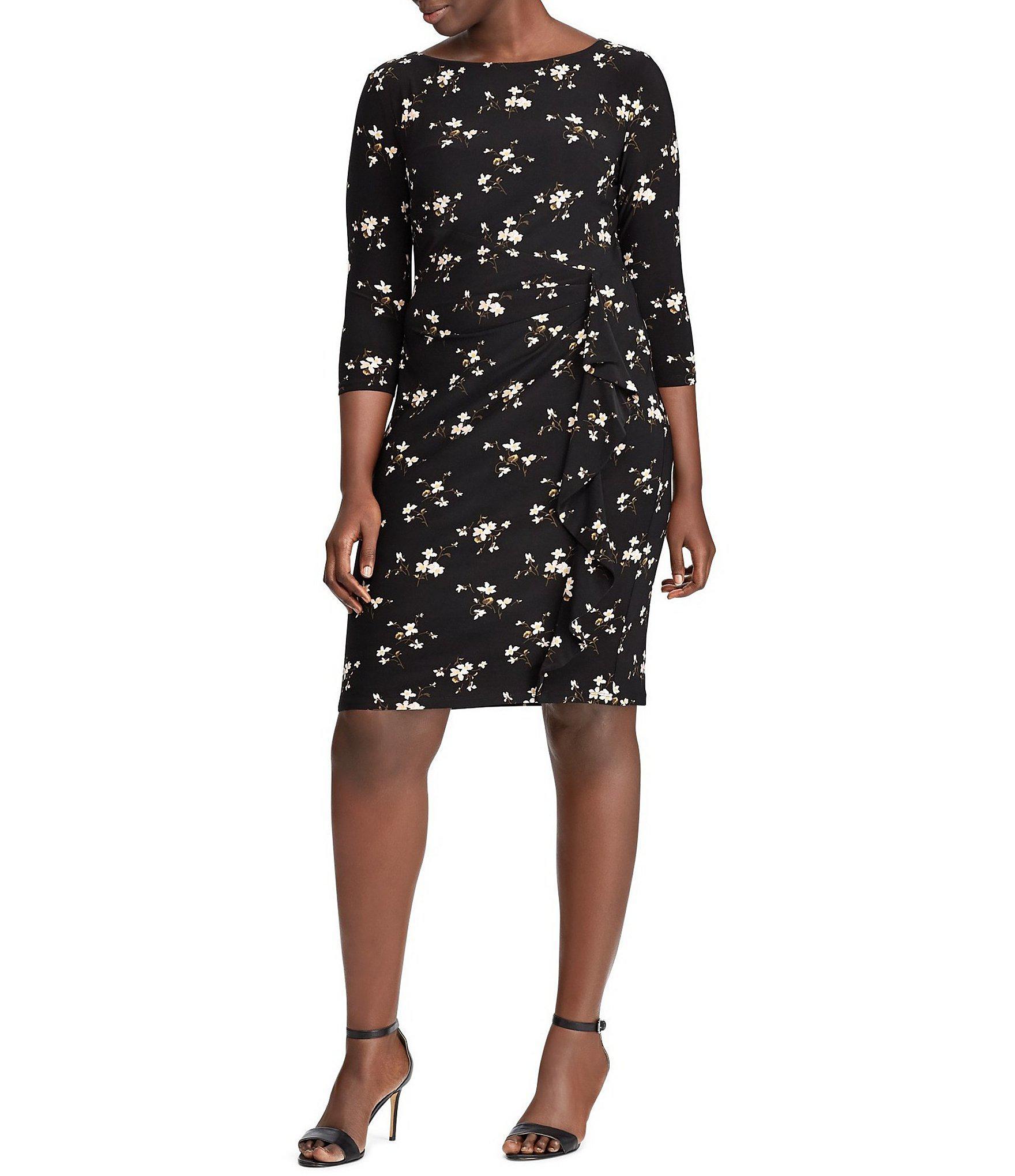 f45fc39792 Lauren by Ralph Lauren. Women s Black Plus-size Floral Print Jersey Dress