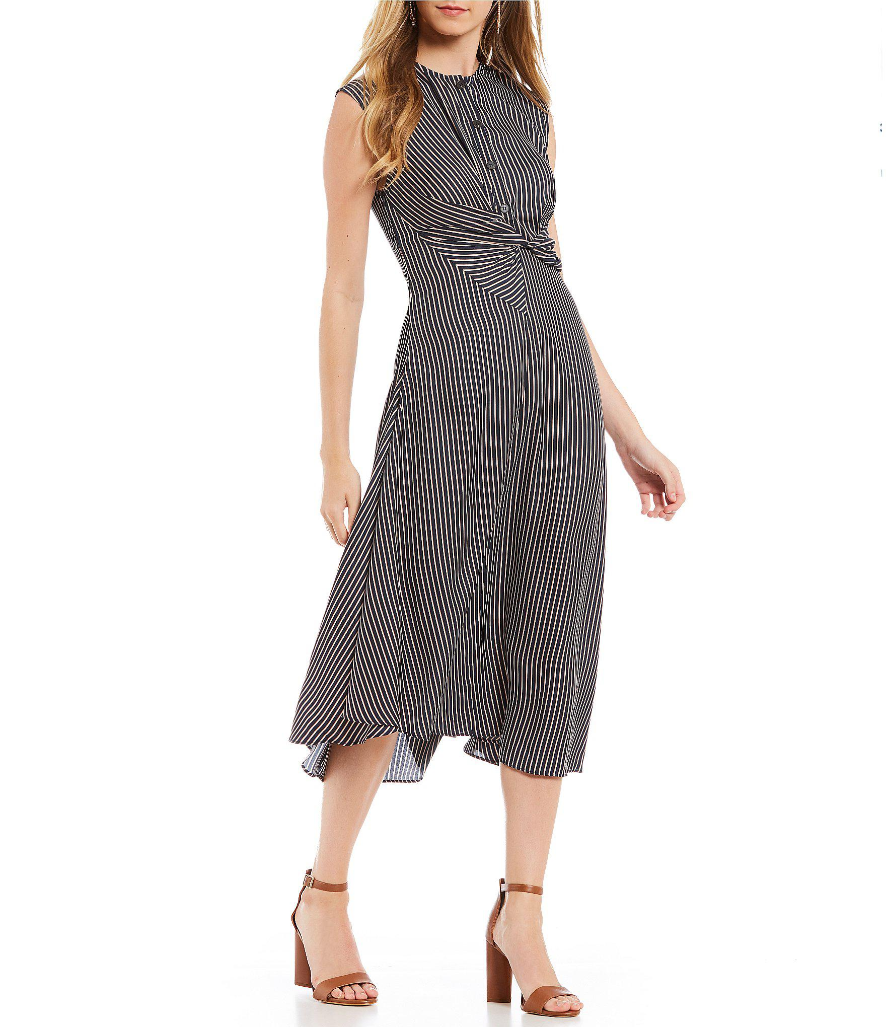 98ebb171a2 Gianni Bini Alex Twist Button Front Stripe Midi Dress - Lyst