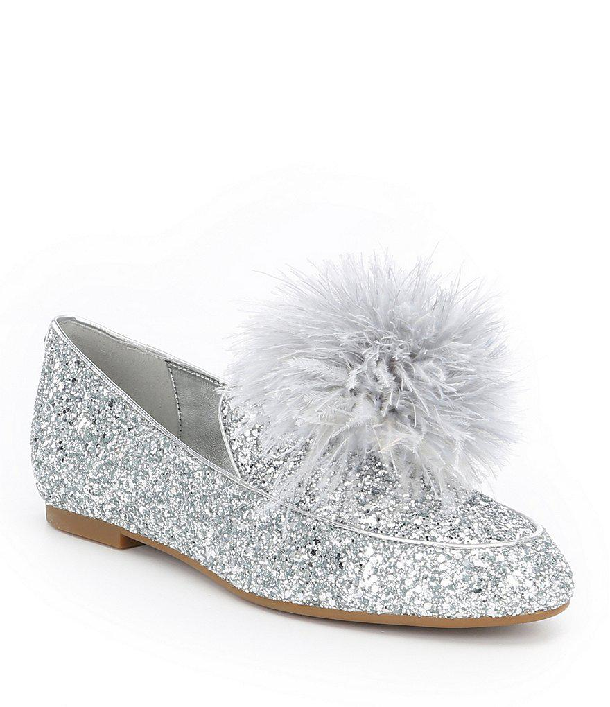 0ec6f6620595 Lyst - MICHAEL Michael Kors Fara Glitter Pom Pom Detail Loafers in Black