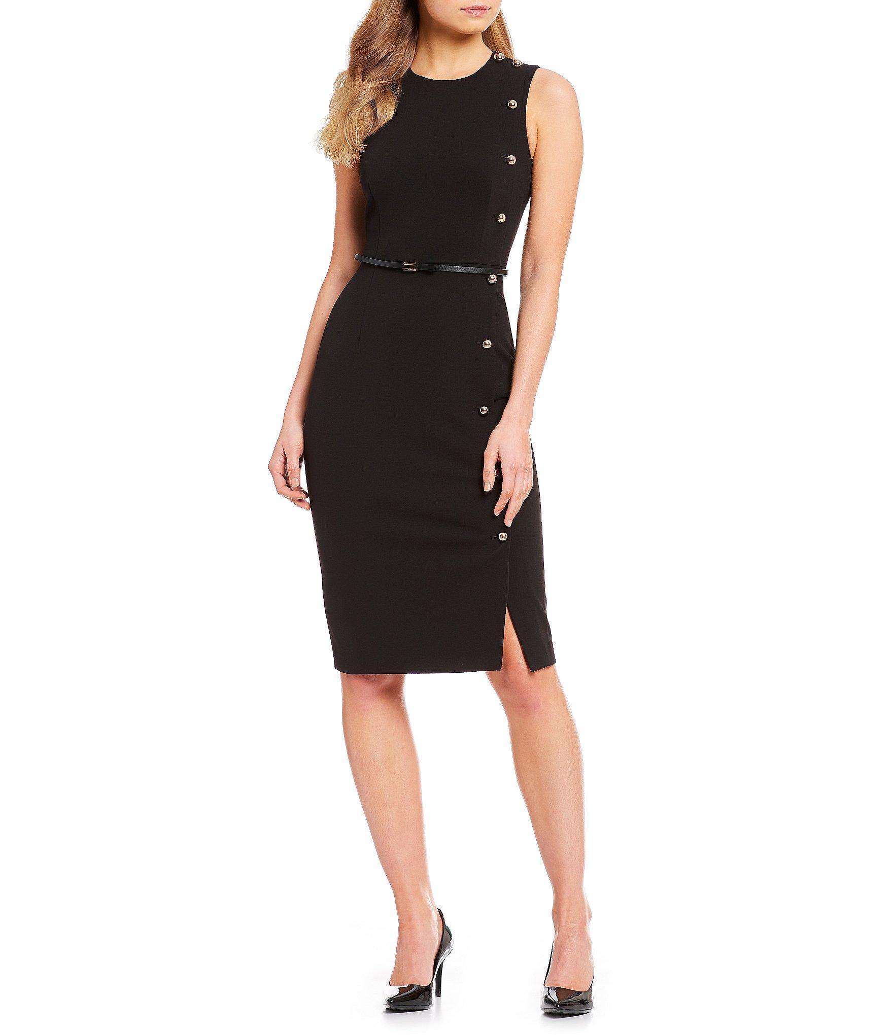 a2680325036 Calvin Klein Sleeveless Side Button Belted Sheath Dress in Black - Lyst