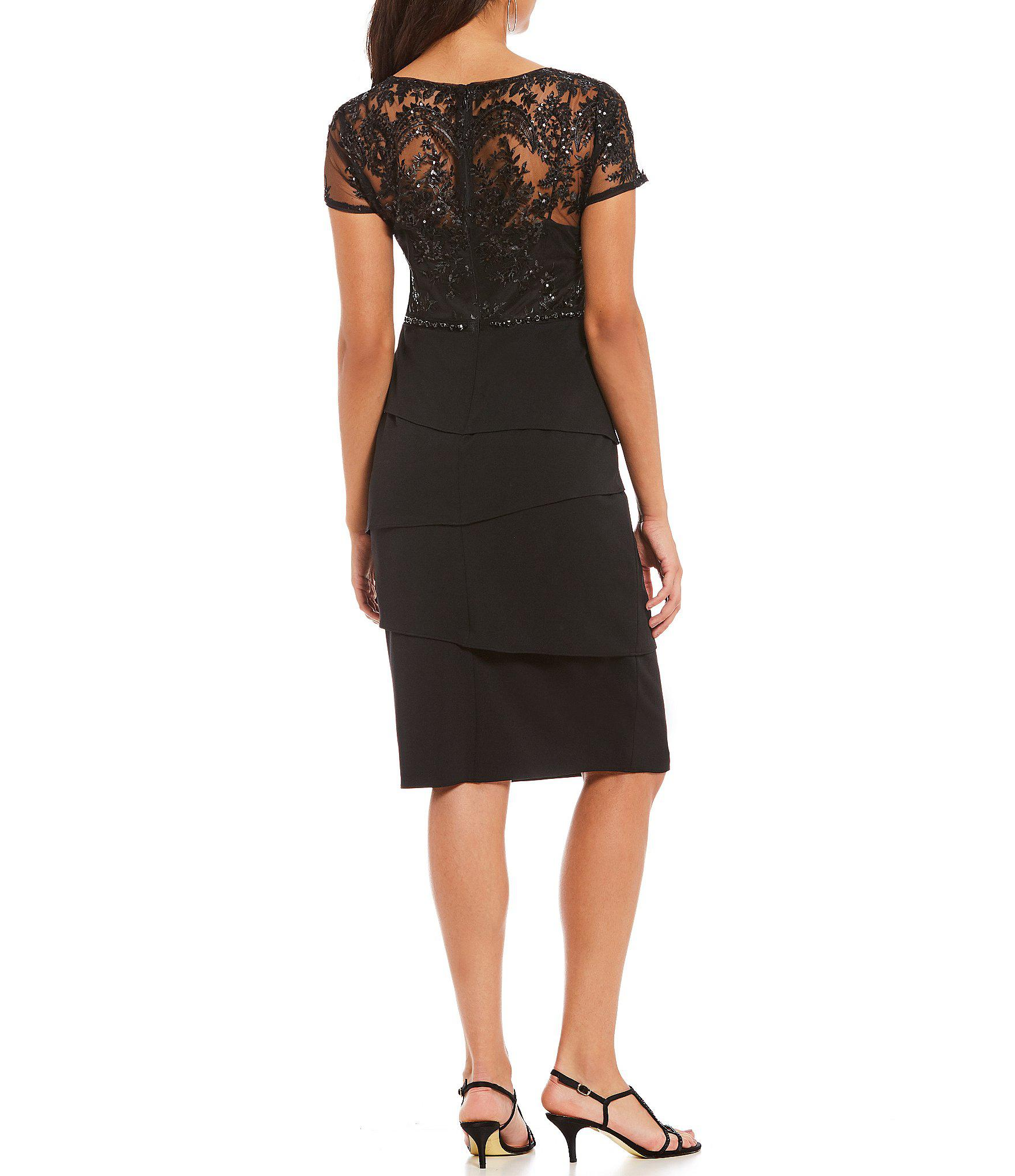 fa2753c1fd Lyst - Adrianna Papell Petite Short Sleeve Sequin Bodice Tiered ...