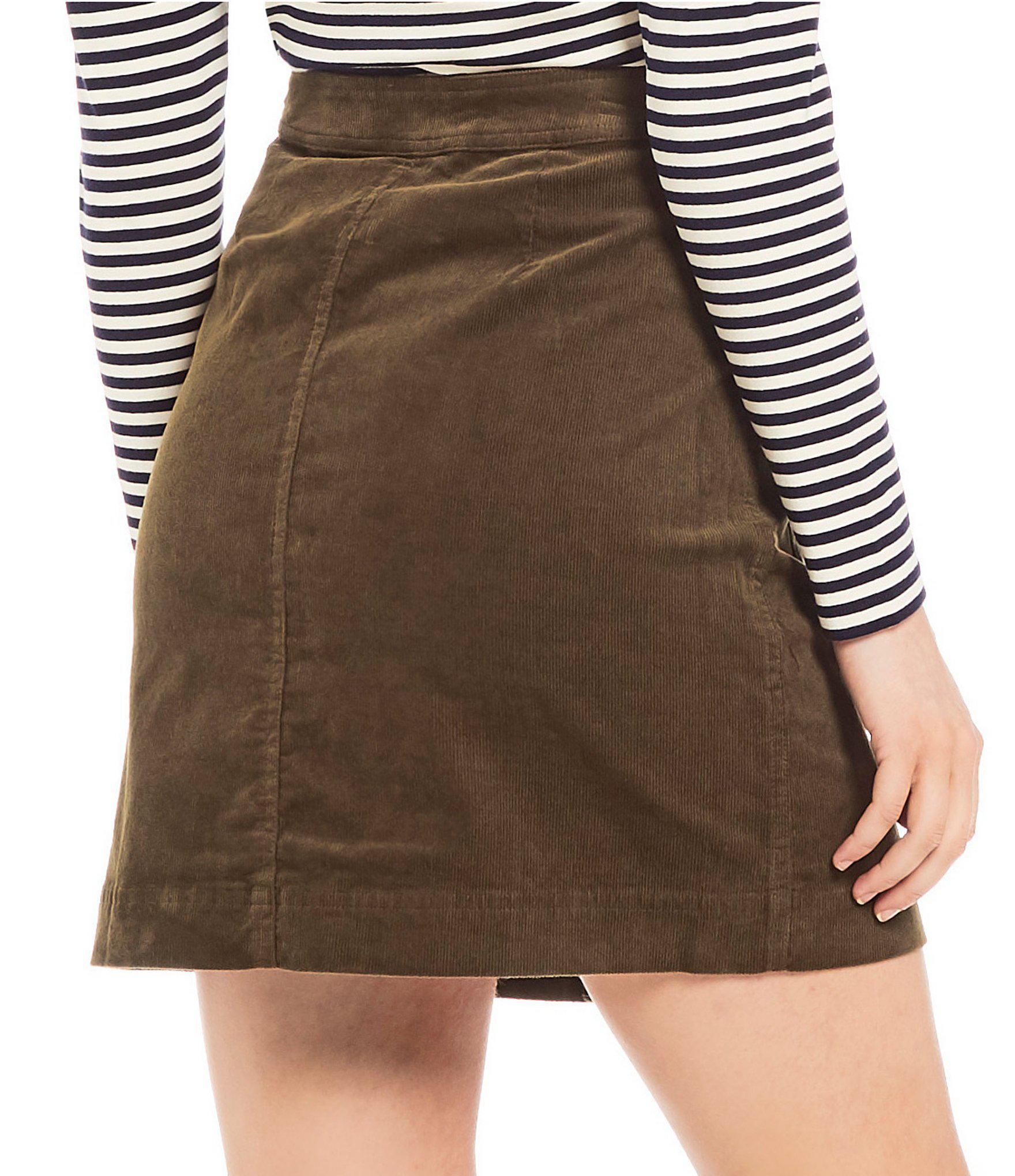 a43dd6437a5e Lyst - Cremieux Wren Corduroy High Rise Button Front A-line Skirt in ...