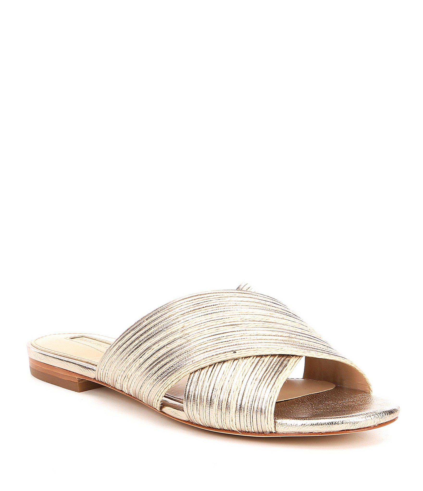 5b5387495b1190 Lyst - Antonio Melani Florentina Raffia Trim Slide Sandals