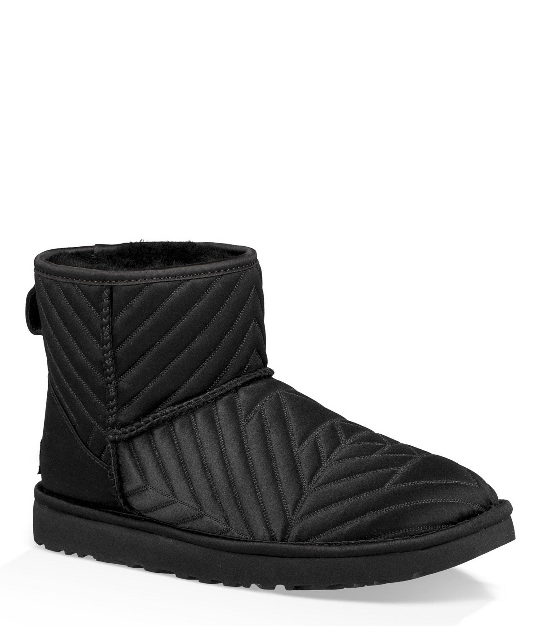 Ugg Classic Mini Quilted Satin Booties In Black Lyst