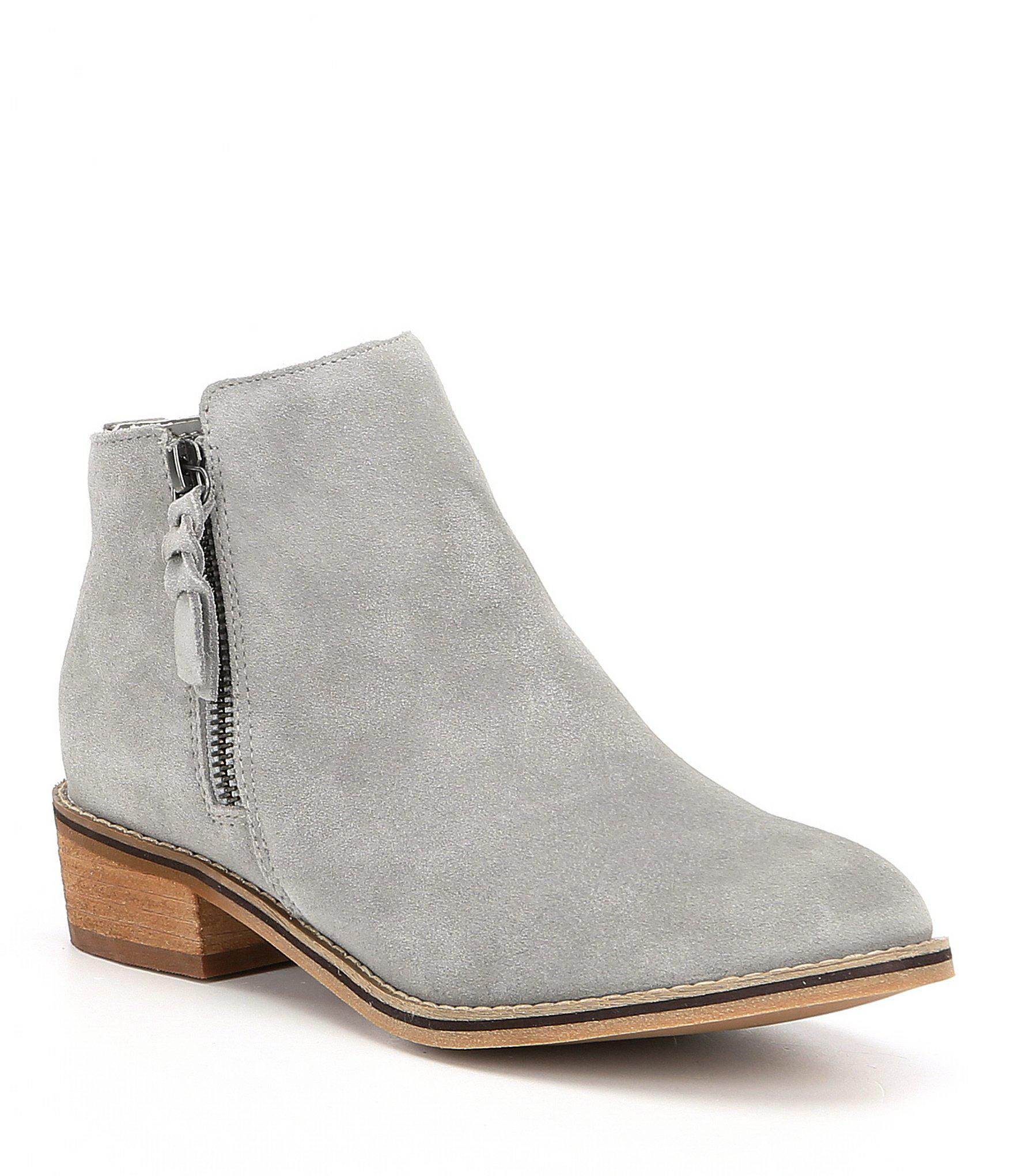 602a81a6c Blondo Waterproof Liam Suede Block Heel Booties in Gray - Lyst