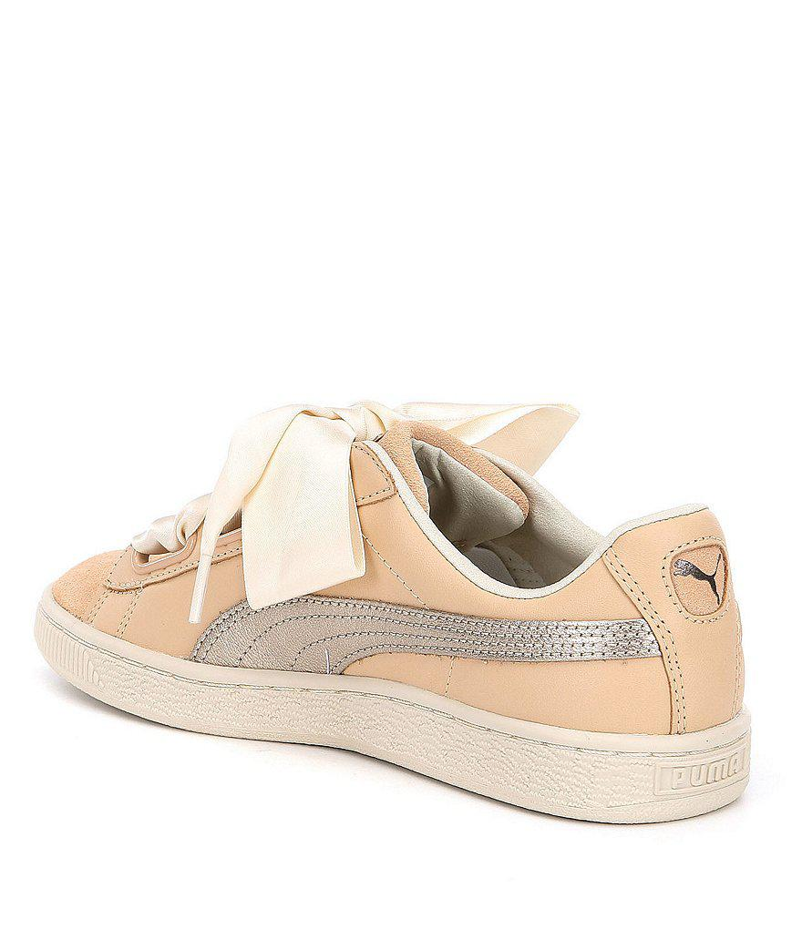 Puma Basket Heart Up Suede Metallic Ribbon Lace Up Detail Sneakers lLtapW4