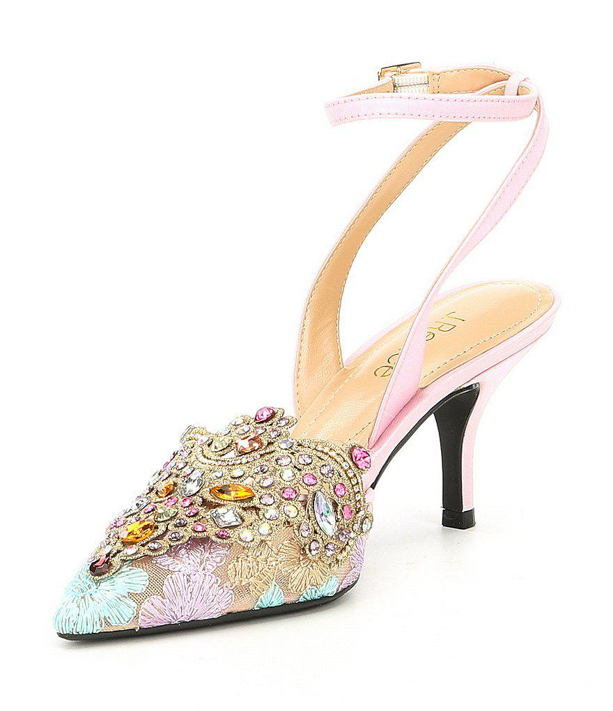 J. Renee Desdemona Floral Mesh Multi Color Rhinestone Detail Ankle Strap Pumps 7HQhy8