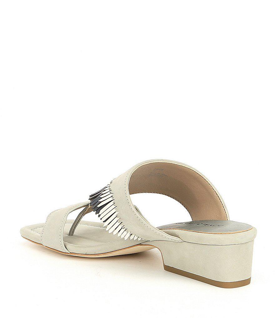 Darcie Nubuck Leather Fringe Block Heel Sandals MZVlKvWBN