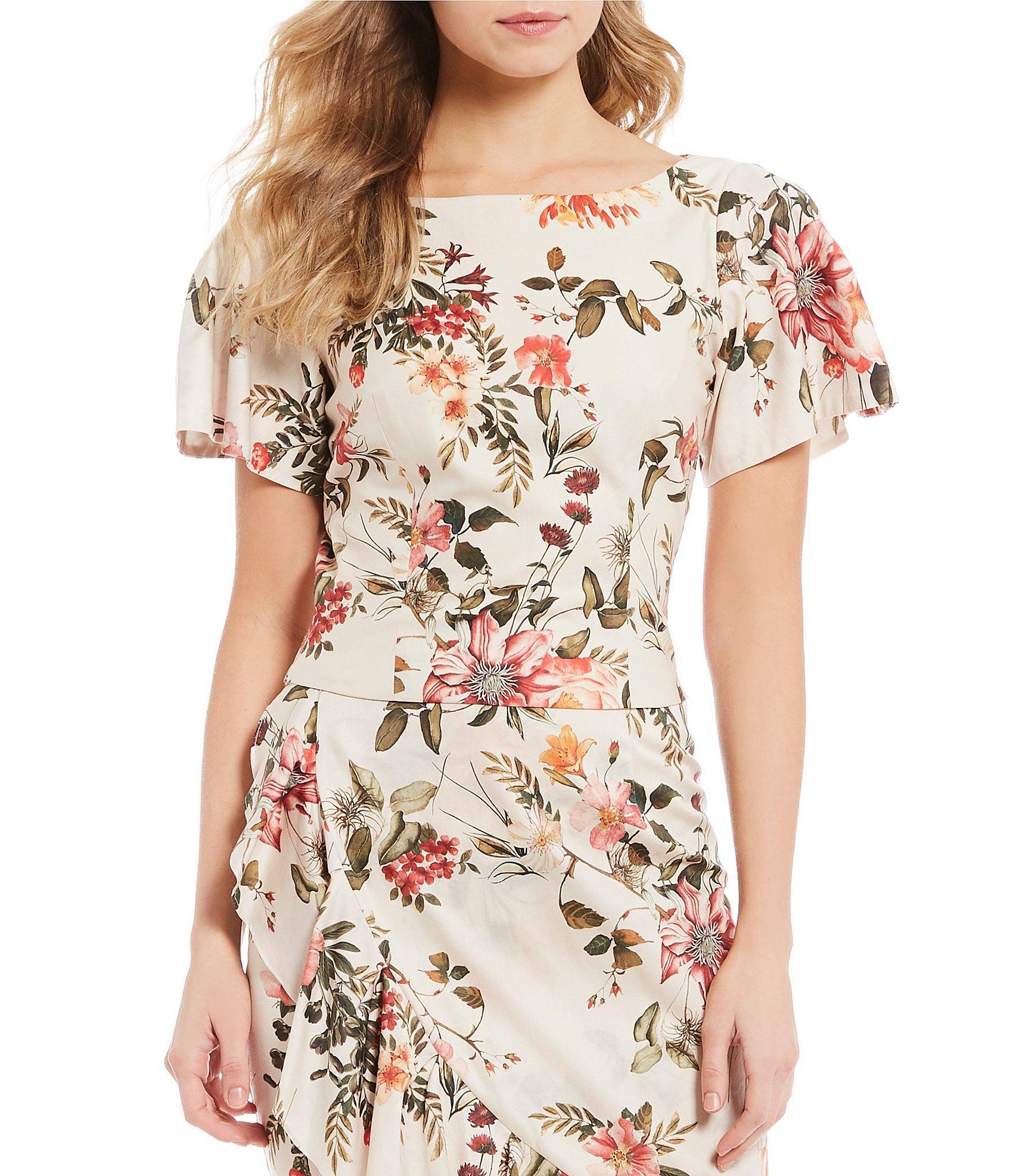 2766527fc26ca Antonio Melani. Women s Diann Floral Print Puffed Flutter Sleeve Blouse