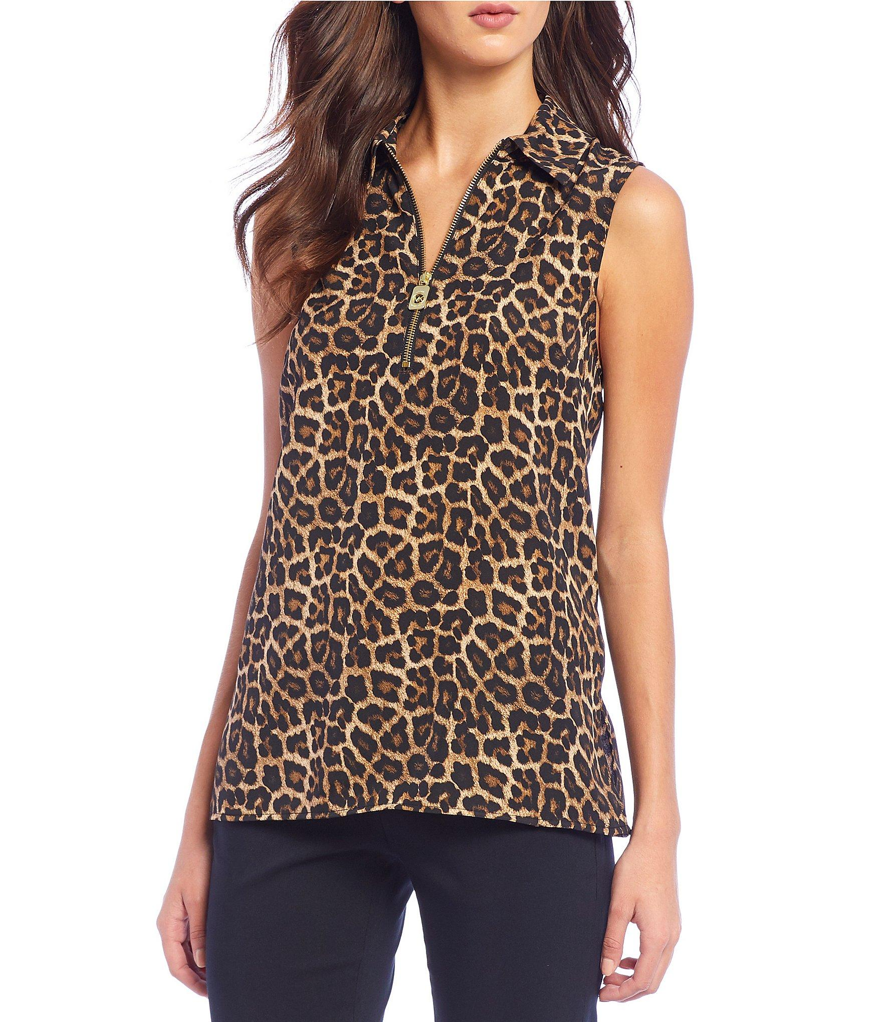 a6e0837dbf0 Lyst - MICHAEL Michael Kors Leopard Print Sleeveless Half-zip Top