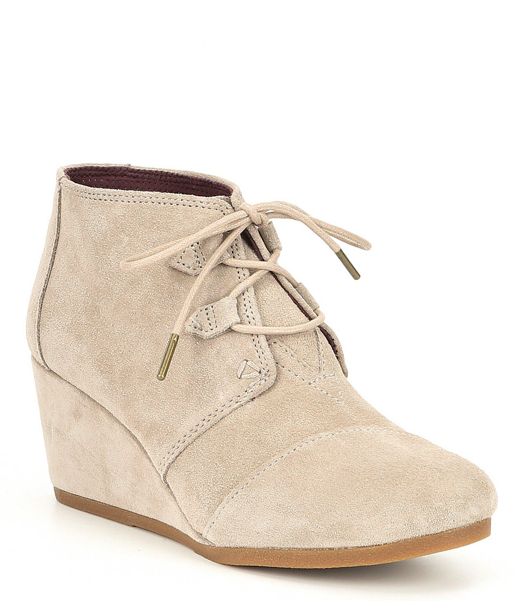 19bd416683d Lyst - TOMS Kala Suede Lace Up Wedge Booties in Natural