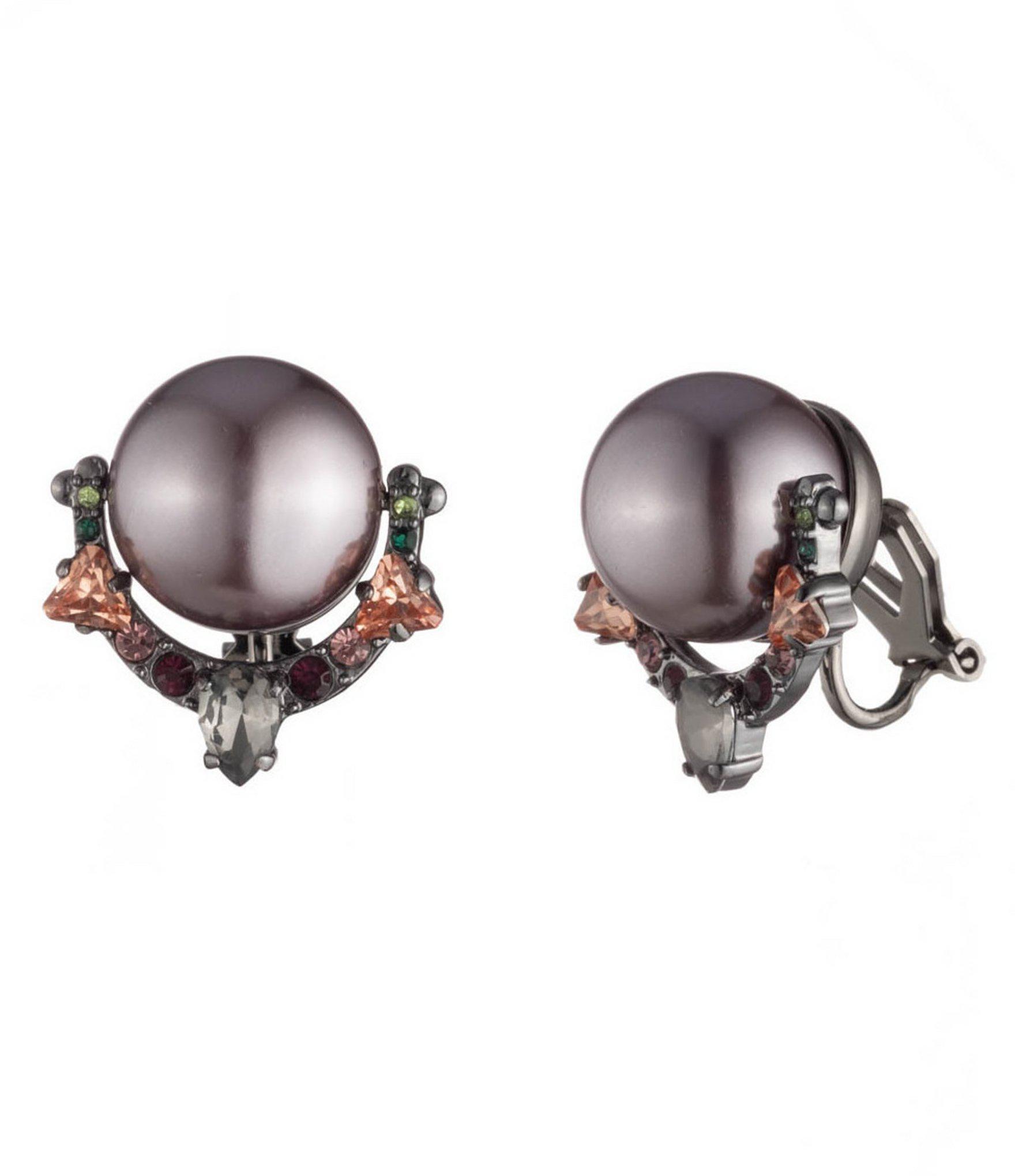 Carolee Purple Pearl Clip Earrings Lyst View Fullscreen