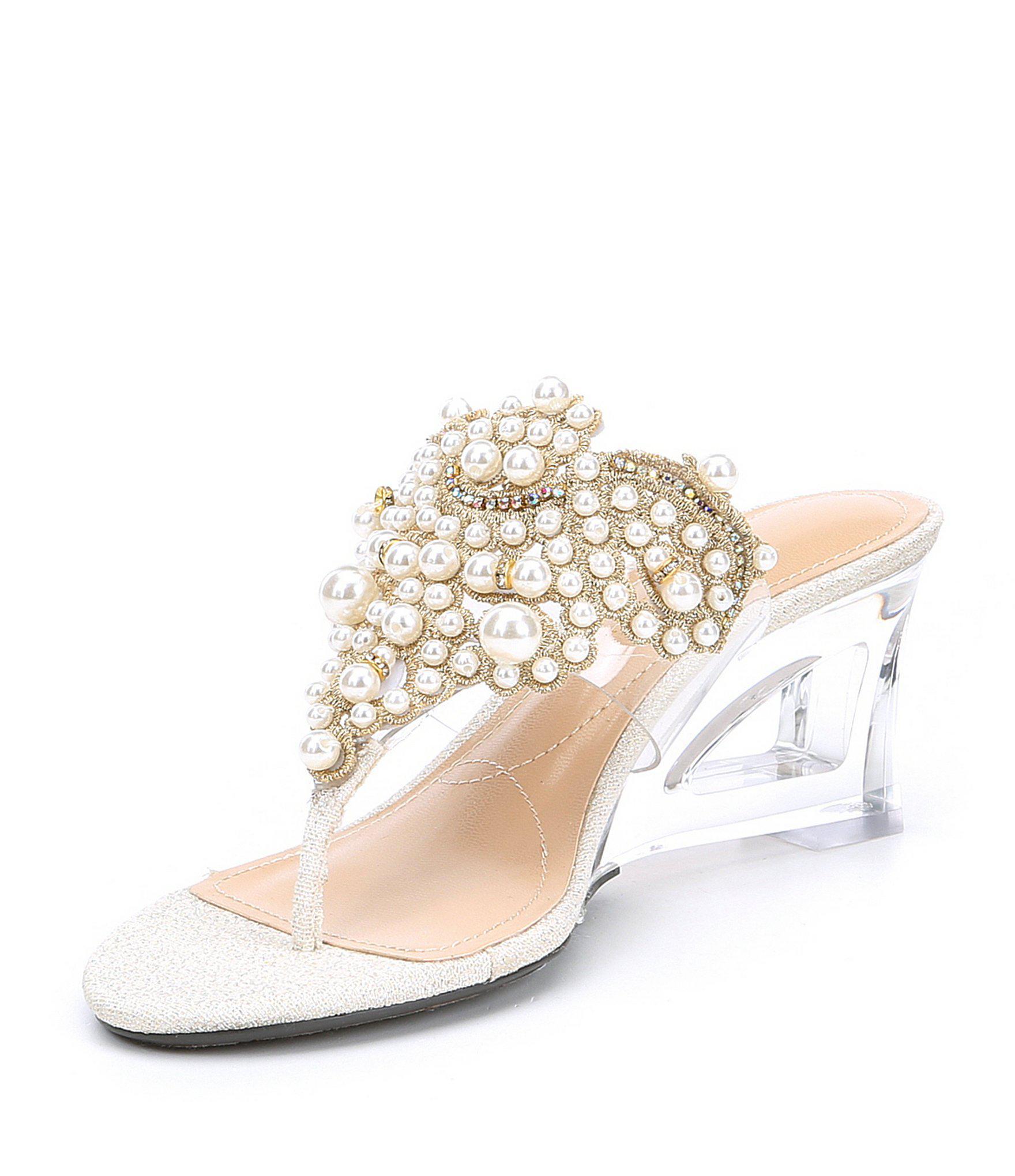 4e22adcd6c4c Lyst - J. Reneé Victorina Pearl Embellished Transparent Thong Dress ...