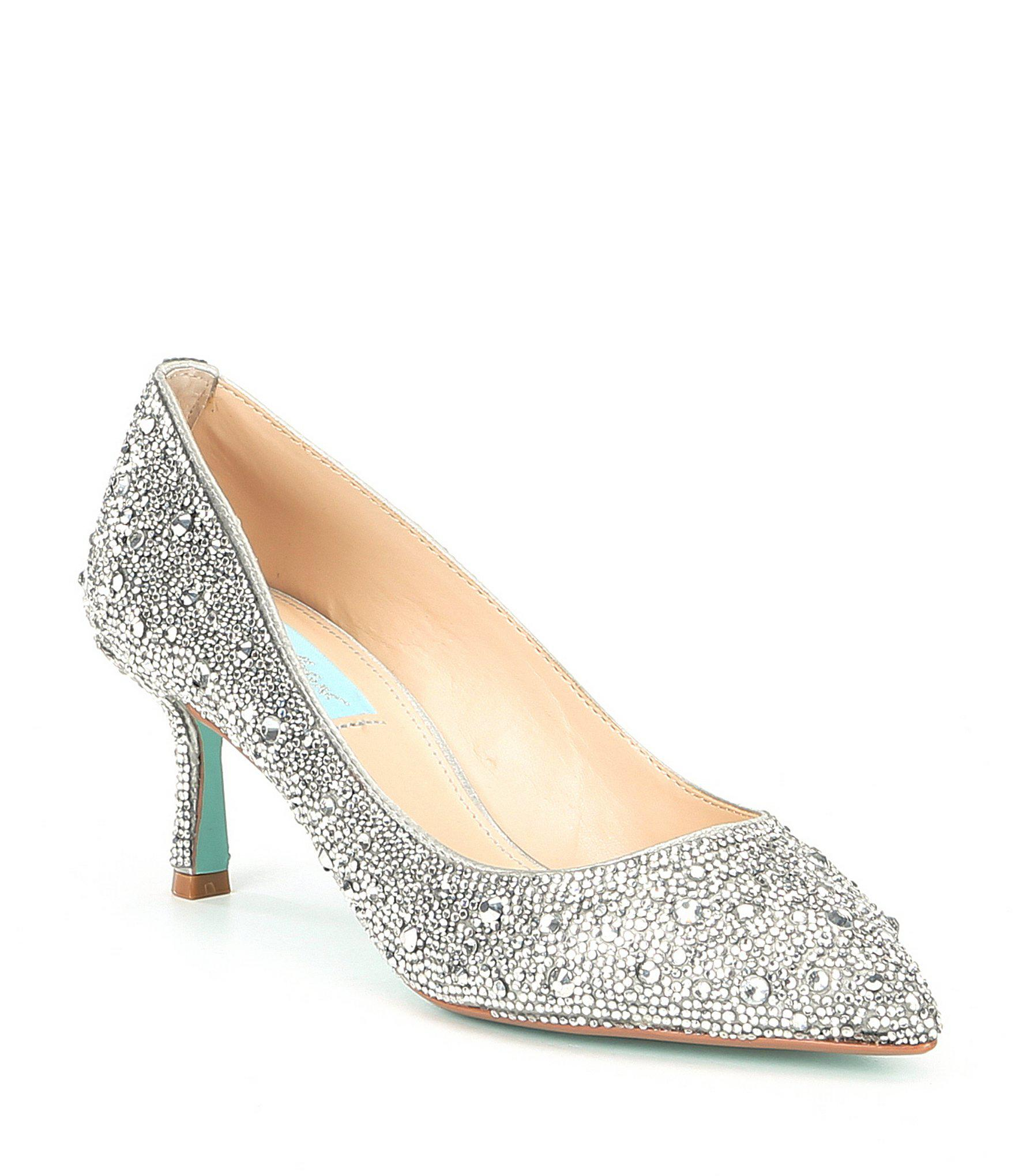 31fb550eaef Betsey Johnson Blue By Jora Glitter Jeweled Kitten Heel Pumps in ...