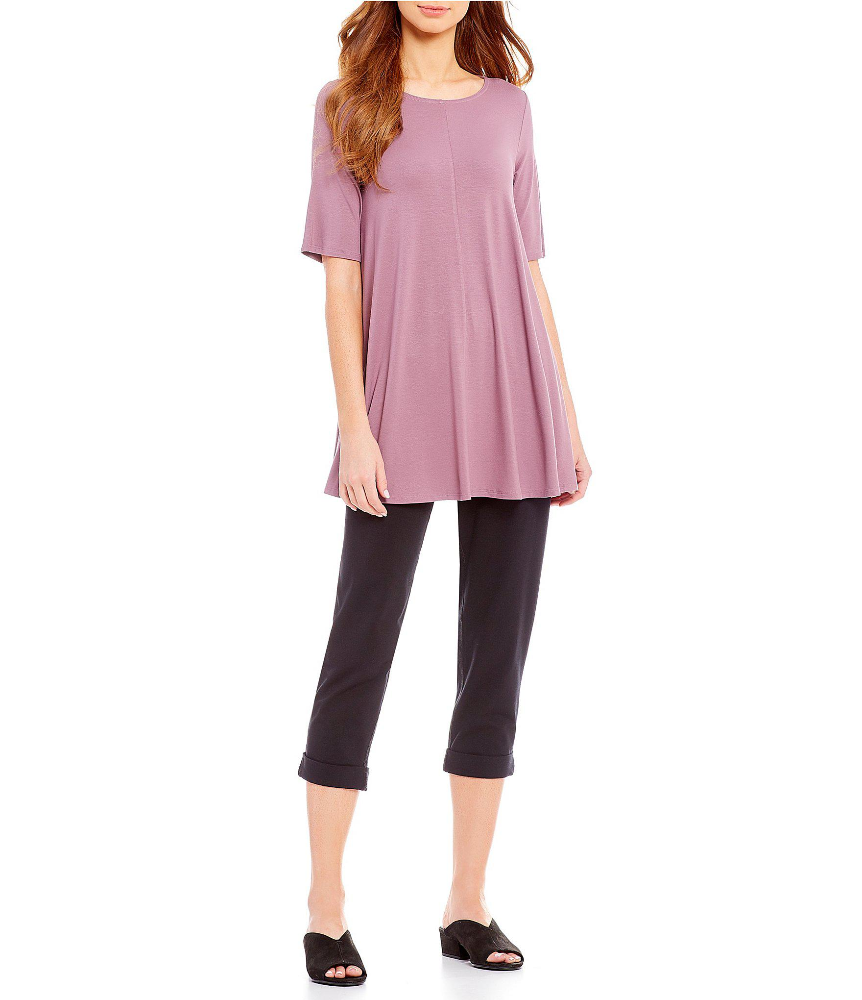 8a01fbb072073a Lyst - Eileen Fisher Jewel Neck Elbow Sleeve Tunic