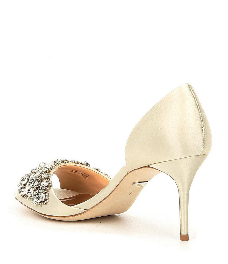 Hansen Satin Jeweled Detail Peep-Toe d' Orsay Pumps jvK3tVuA2Z